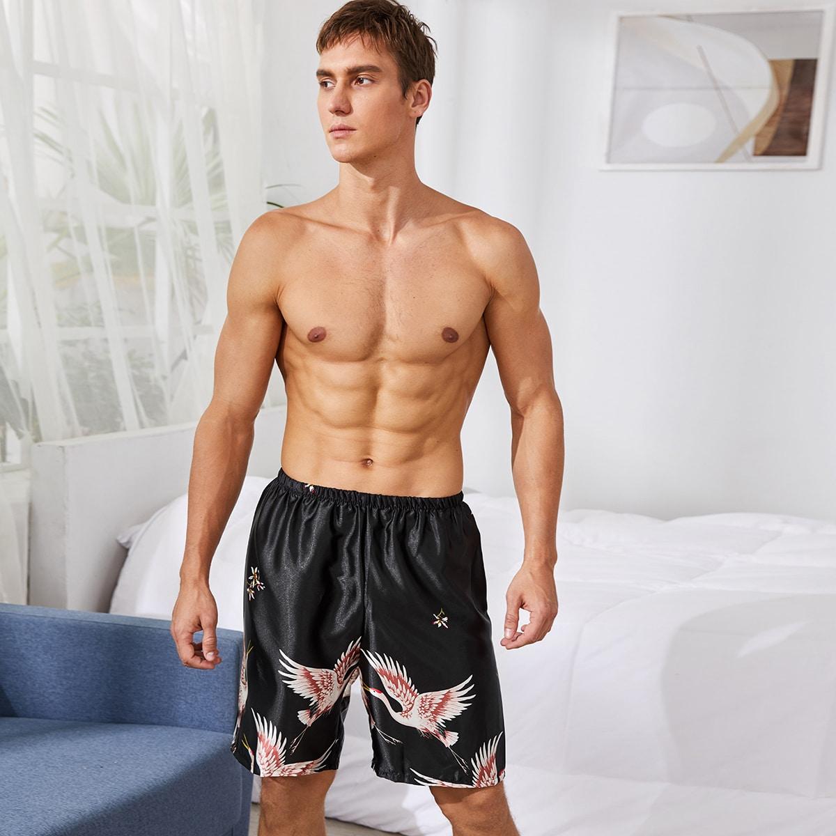 Мужские атласные шорты для сна с принтом журавля фото
