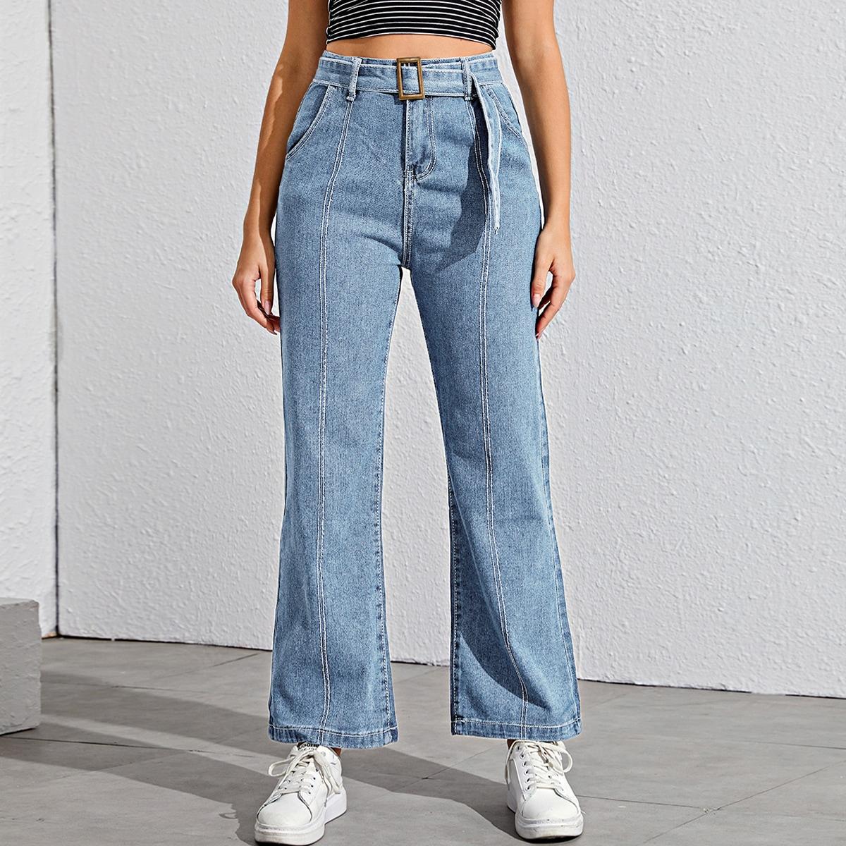 Широкие джинсы с поясом фото