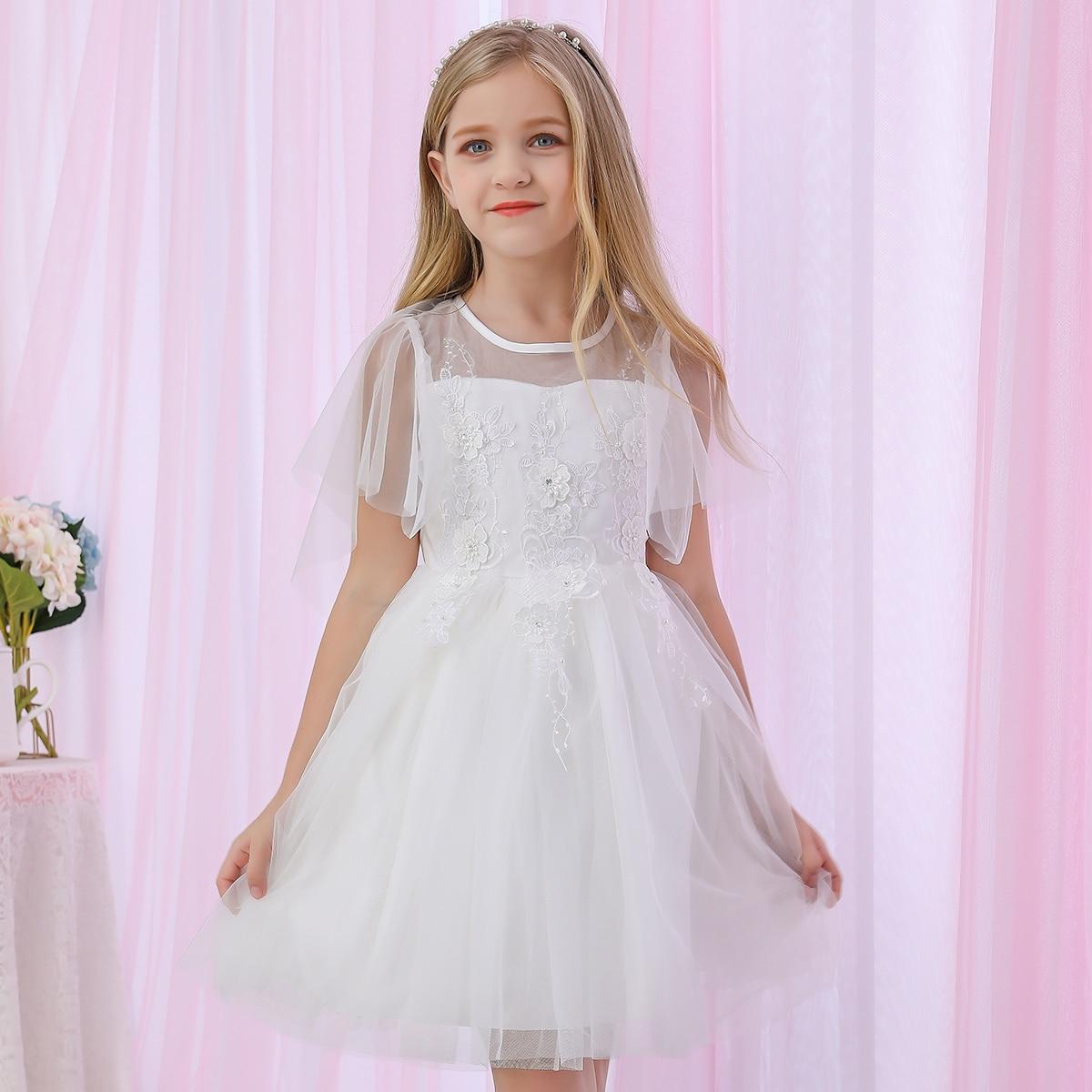 SHEIN / Mädchen Kleid mit Stickereien, Applikation und Netzstoff