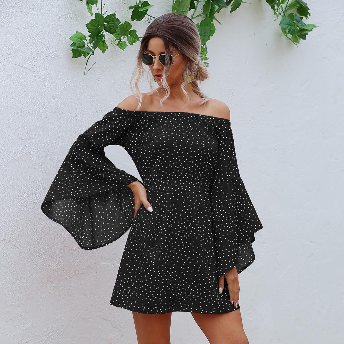 SHEIN / Polka Dot Bardot Flounce Sleeve Dress