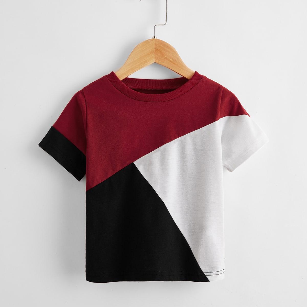 Контрастная футболка для мальчиков от SHEIN