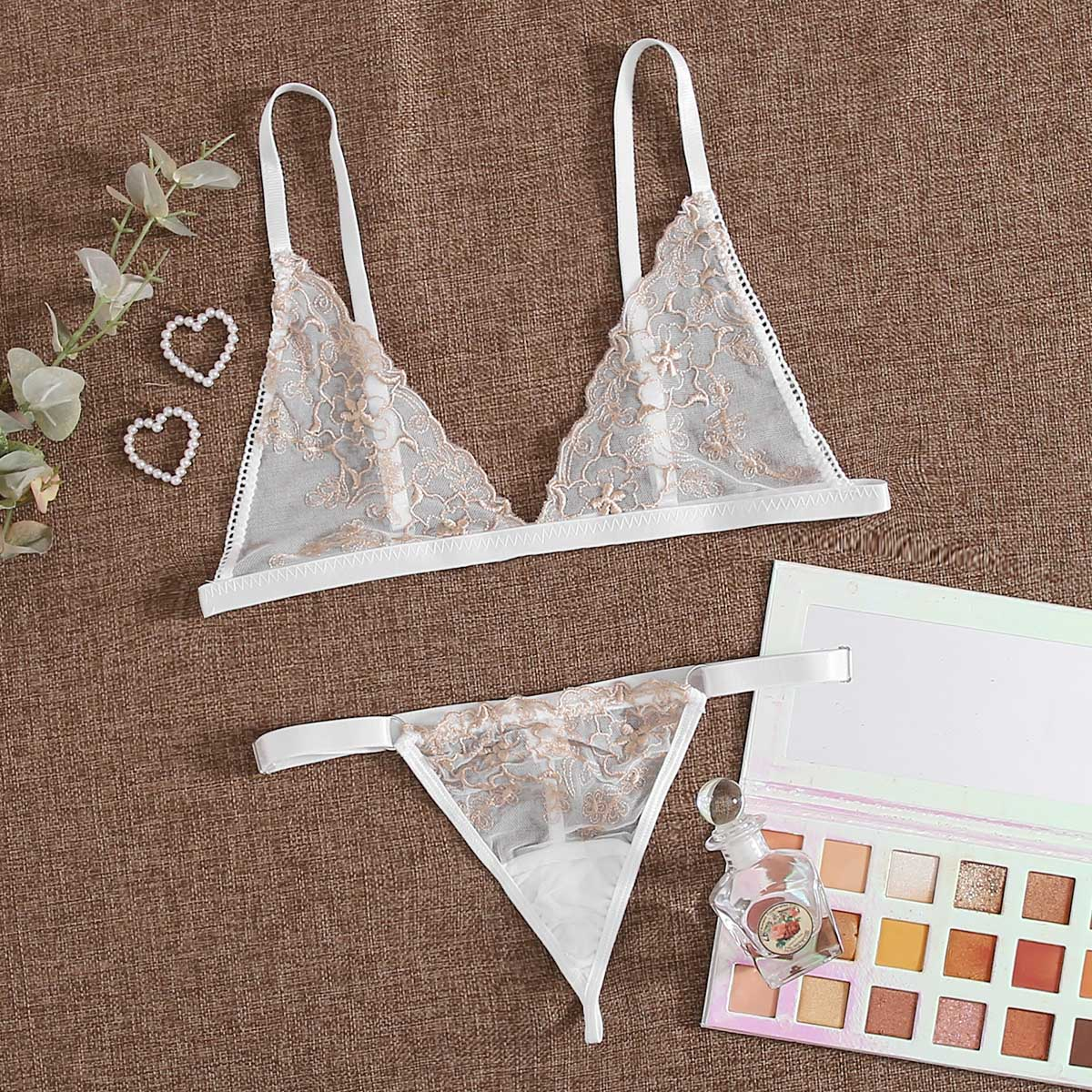 SHEIN / Embroidered Mesh Triangle Lingerie Set