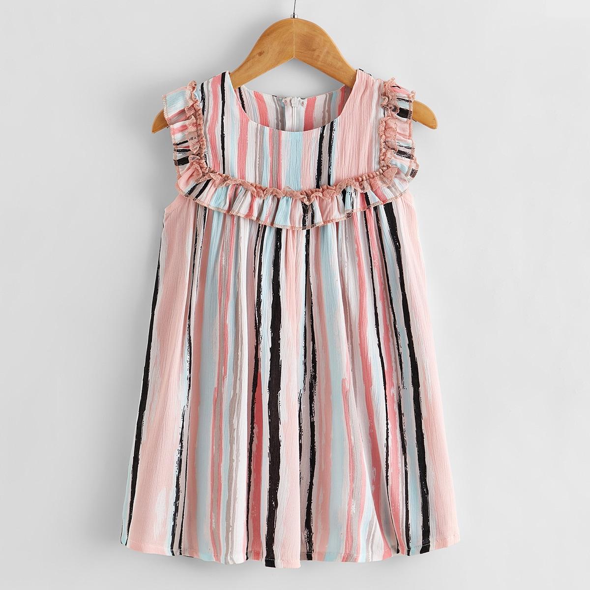 Полосатое платье-туника со складкой для девочек от SHEIN