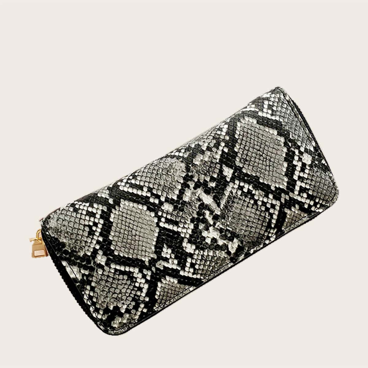 Snakeskin Print Zip Around Purse (swbag18200507004) photo