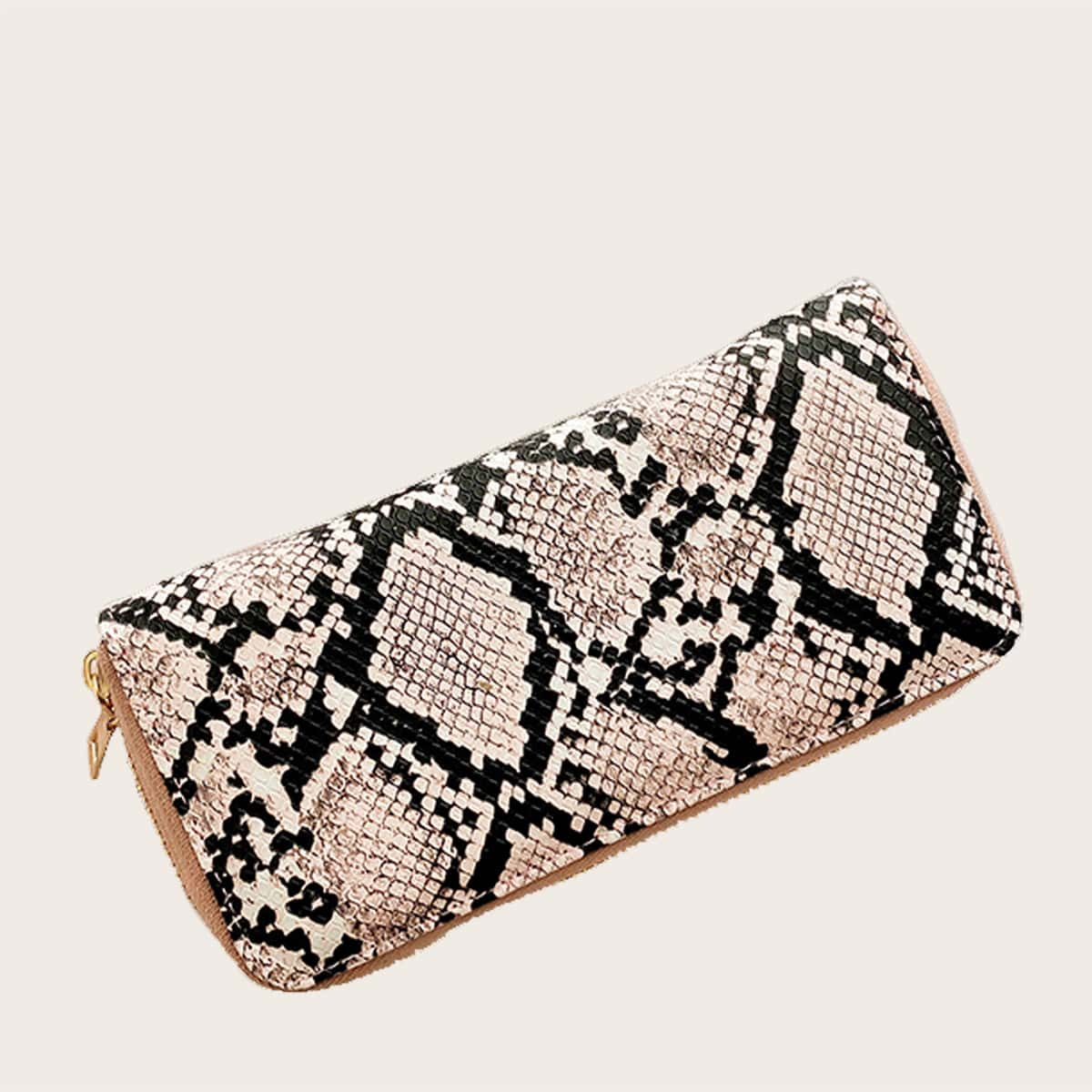 Snakeskin Print Zip Around Purse (swbag18200507461) photo