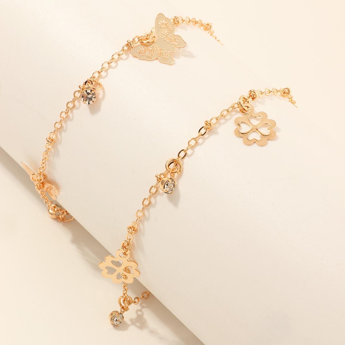 SHEIN / 2 Stücke Mädchen Fußkette mit Schmetterling Anhänger