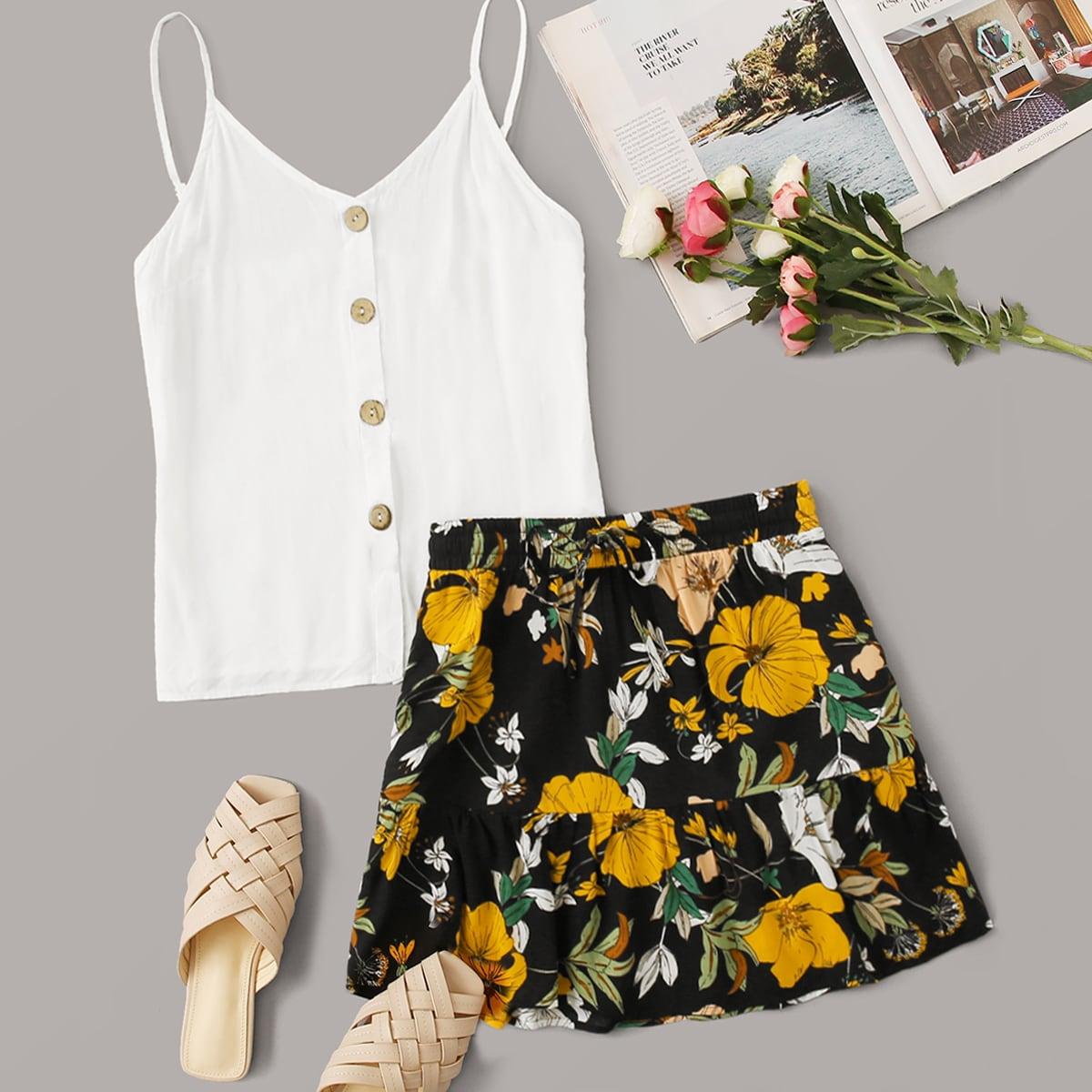 Цветочная юбка и топ с пуговицами размера плюс фото