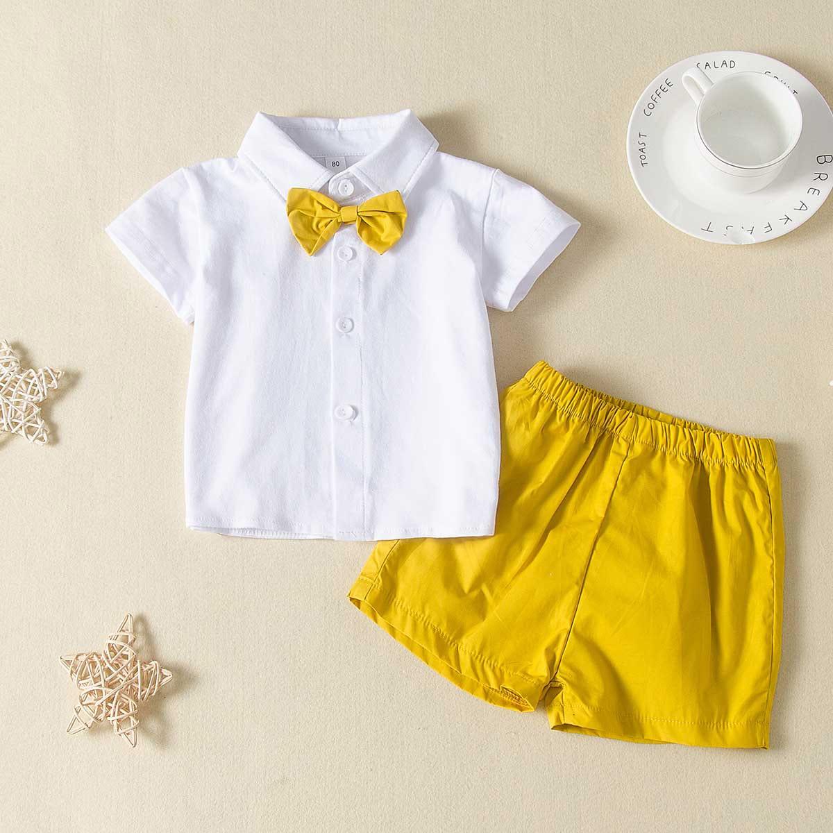 Шорты и рубашка с пуговицами и бантом для мальчиков от SHEIN