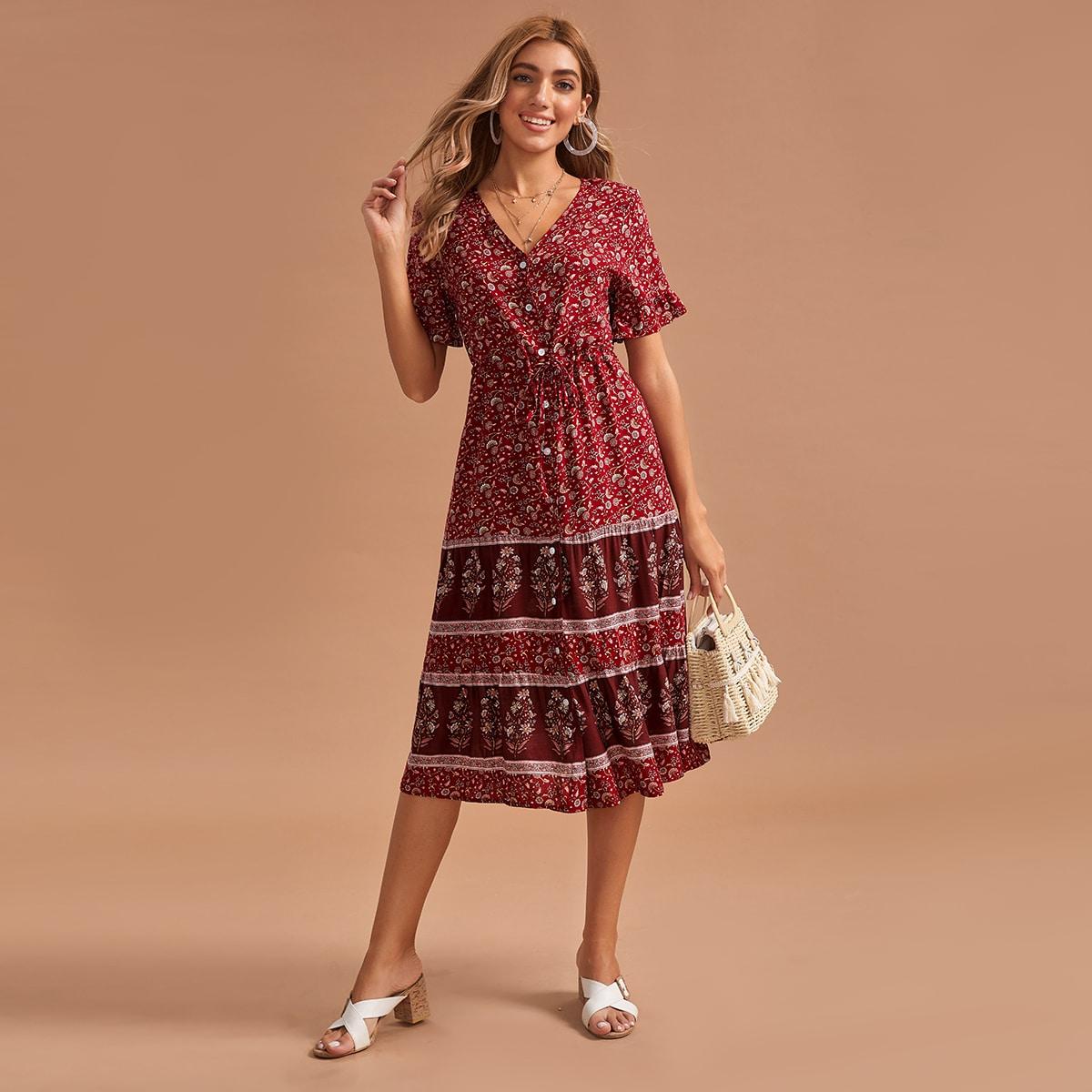 Платье с узлом, цветочным и племенным принтом фото