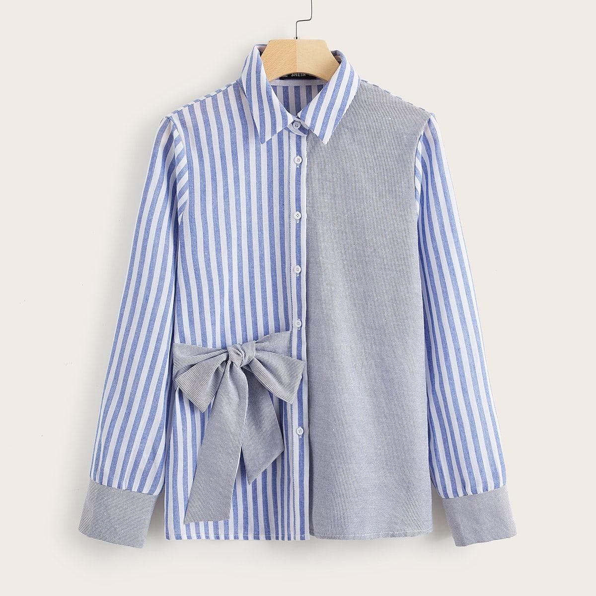 SHEIN / Bluse mit Knoten Detail und Streifen