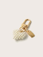 Faux Pearl Heart Charm Keychain