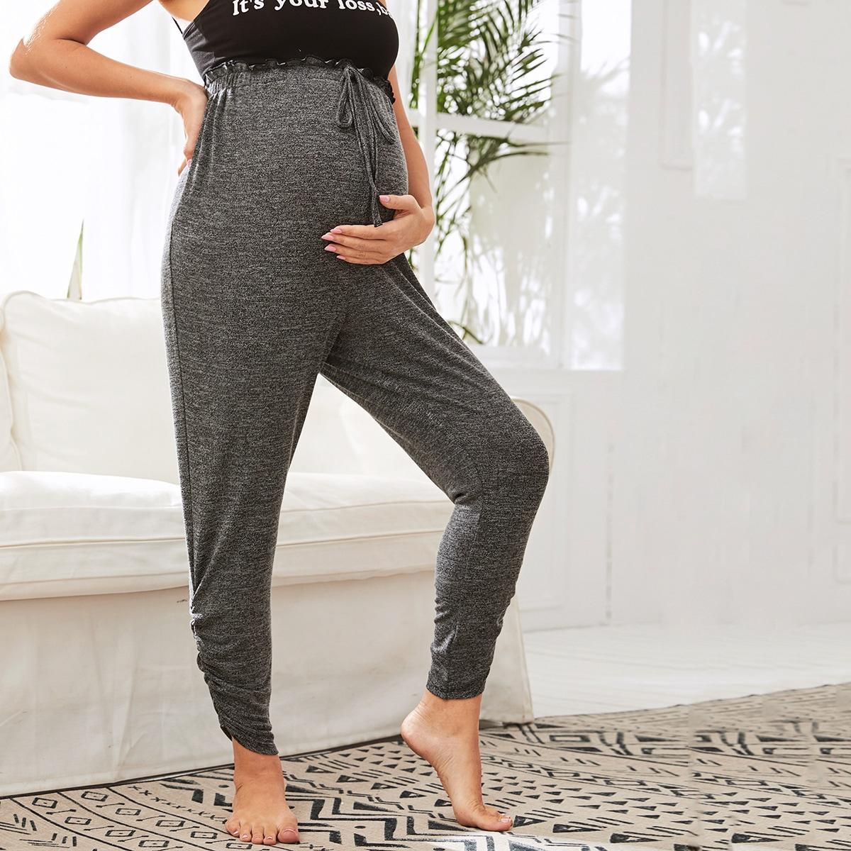 Брюки с присборенной талией и узлом для беременных от SHEIN
