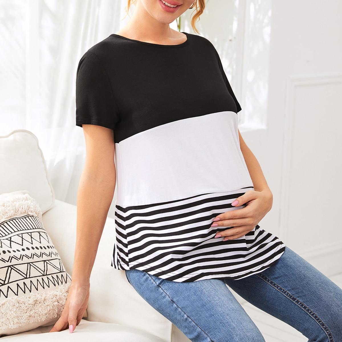 Контрастная футболка в полоску для беременных от SHEIN