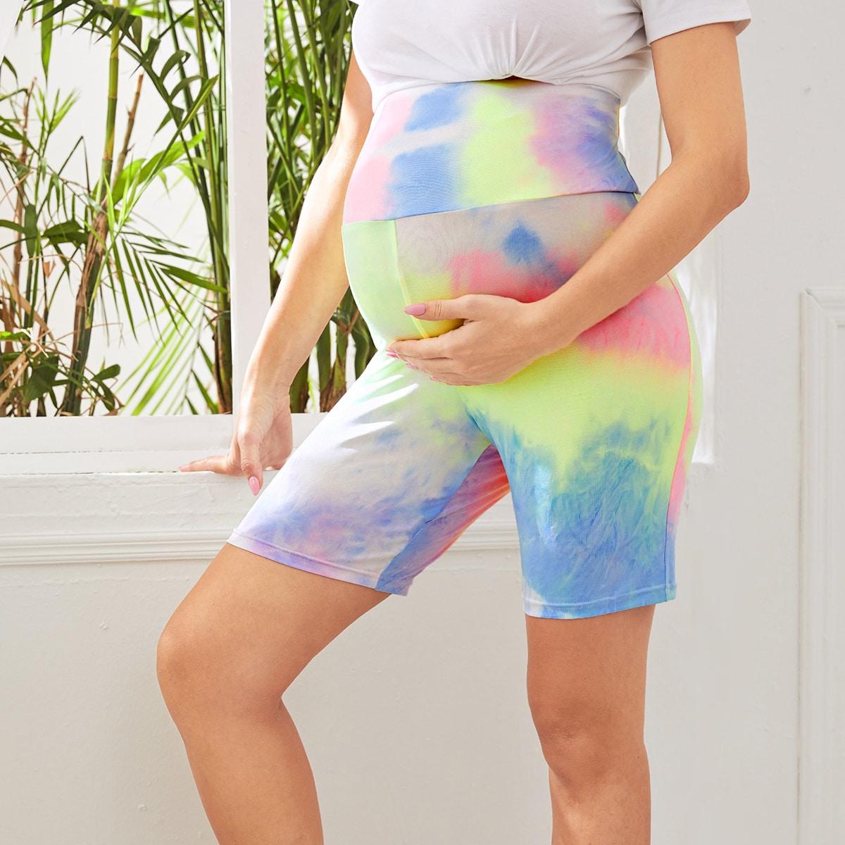 Разноцветные байкерские шорты для беременных от SHEIN