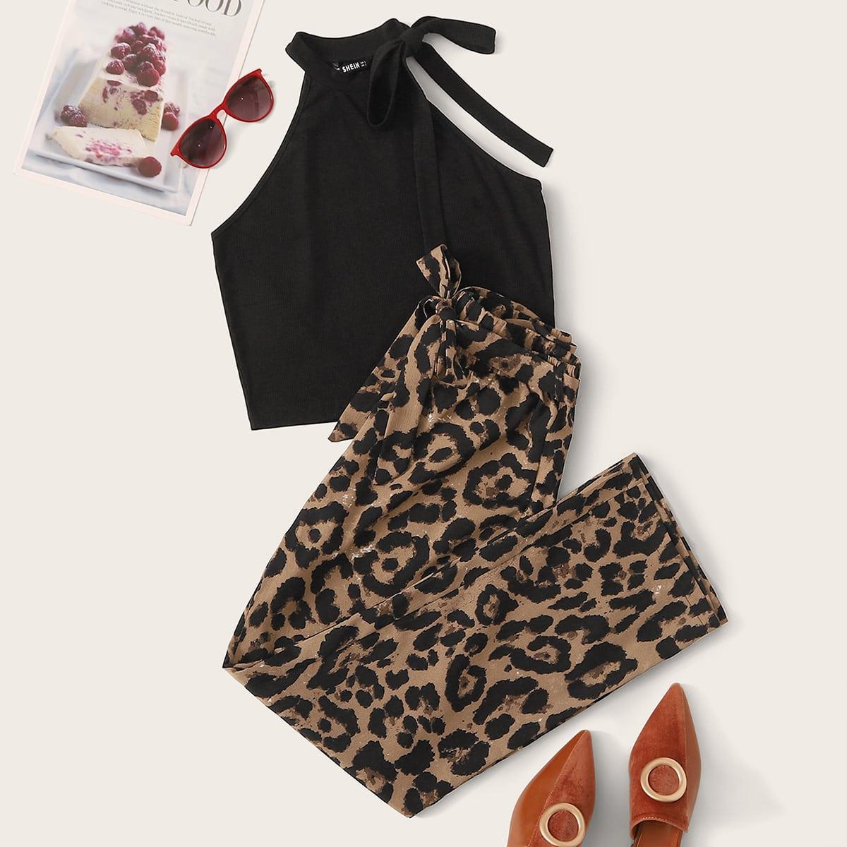 Топ-халтер и леопардовые брюки с поясом от SHEIN