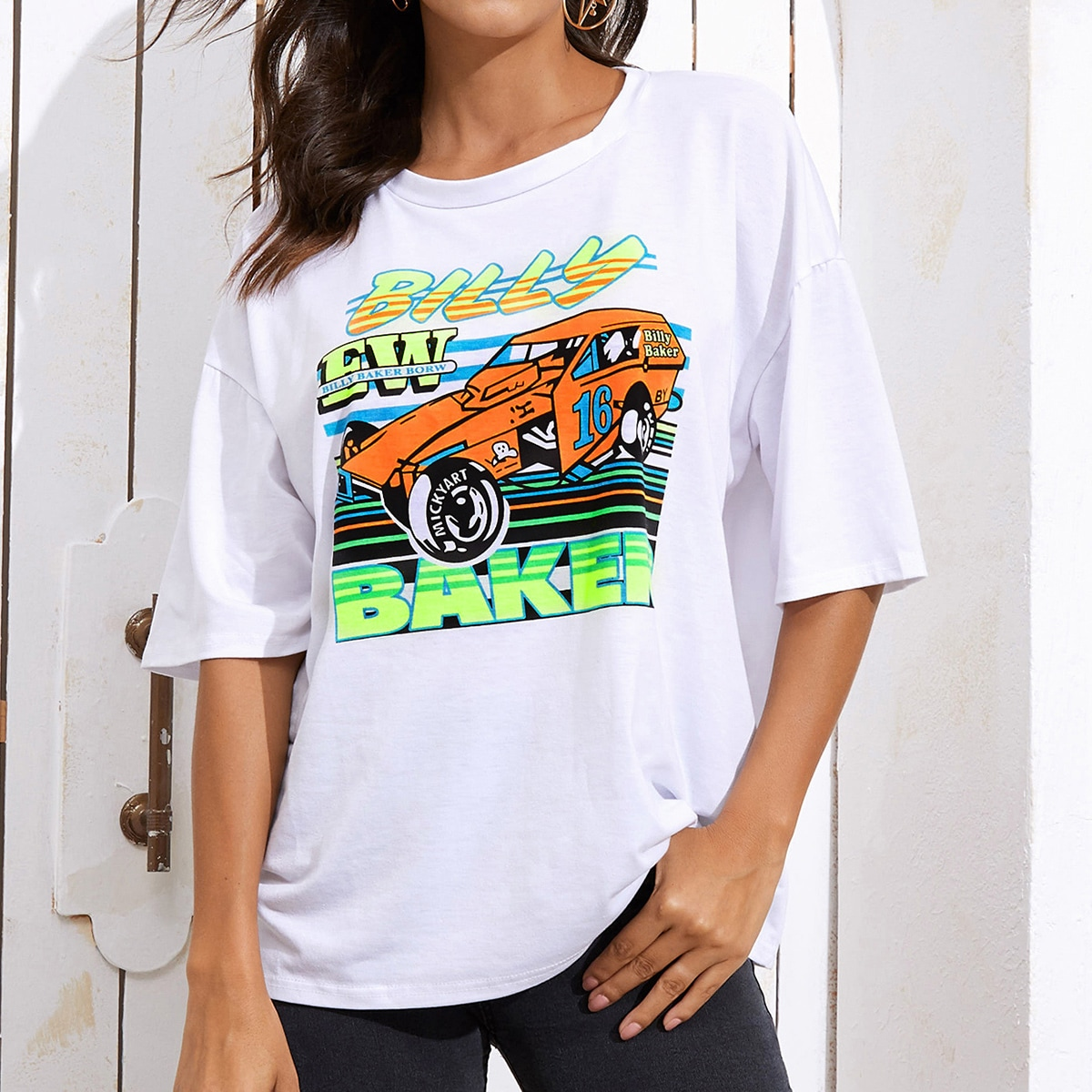 Wit Casual Grafisch T-shirt