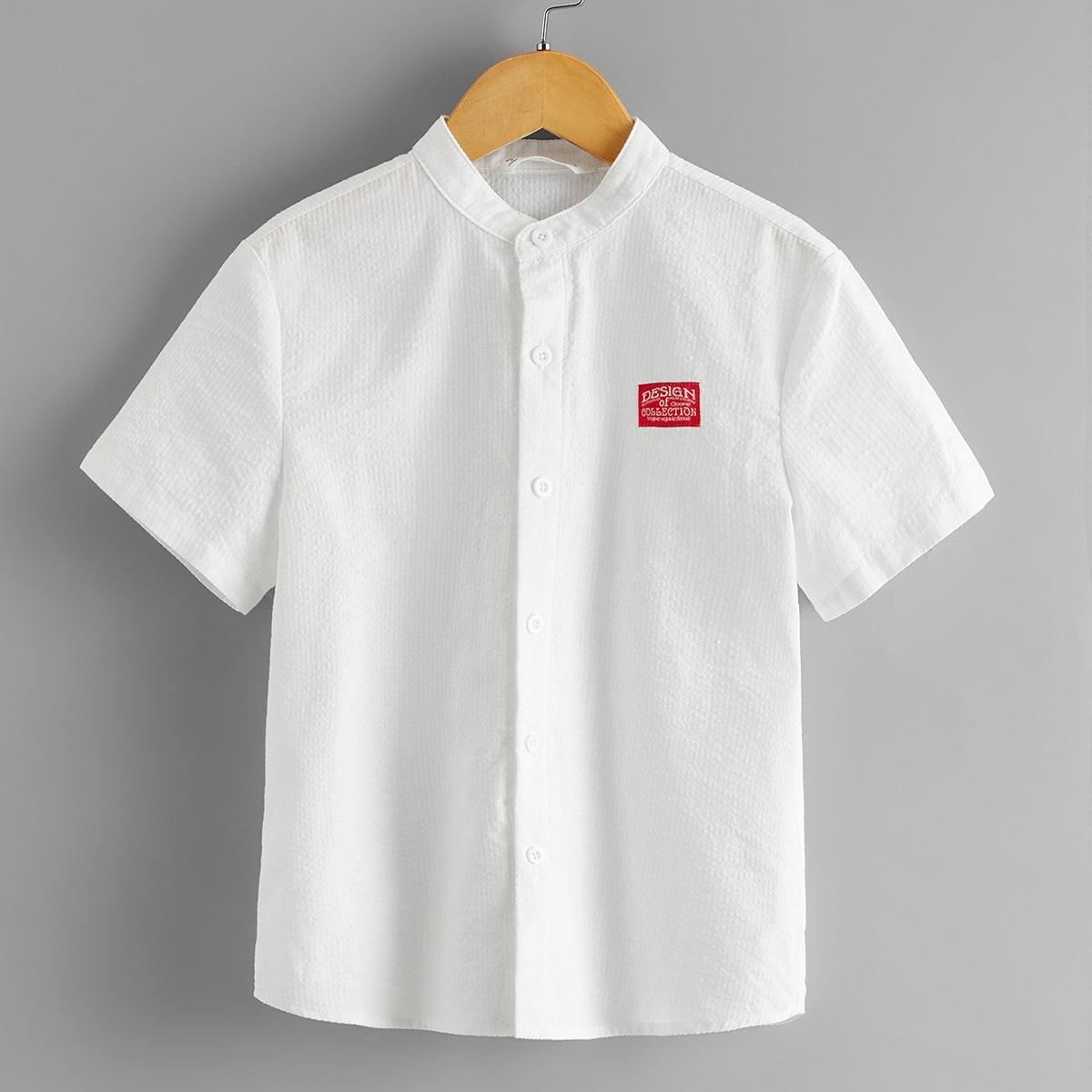 Рубашка с текстовым узором для мальчиков от SHEIN