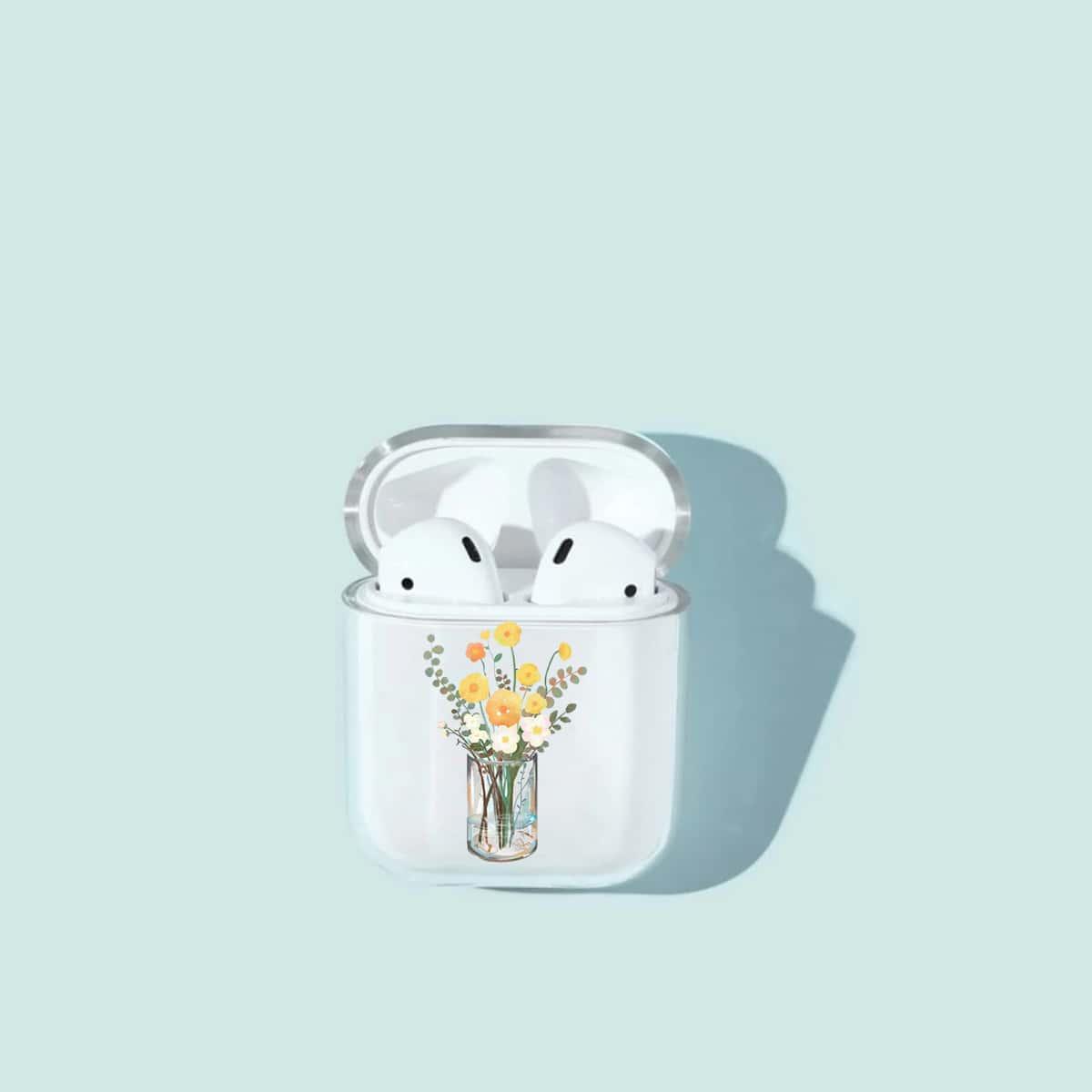 SHEIN / 1 Stück Transparente Airpods Hülle mit Blumen Muster