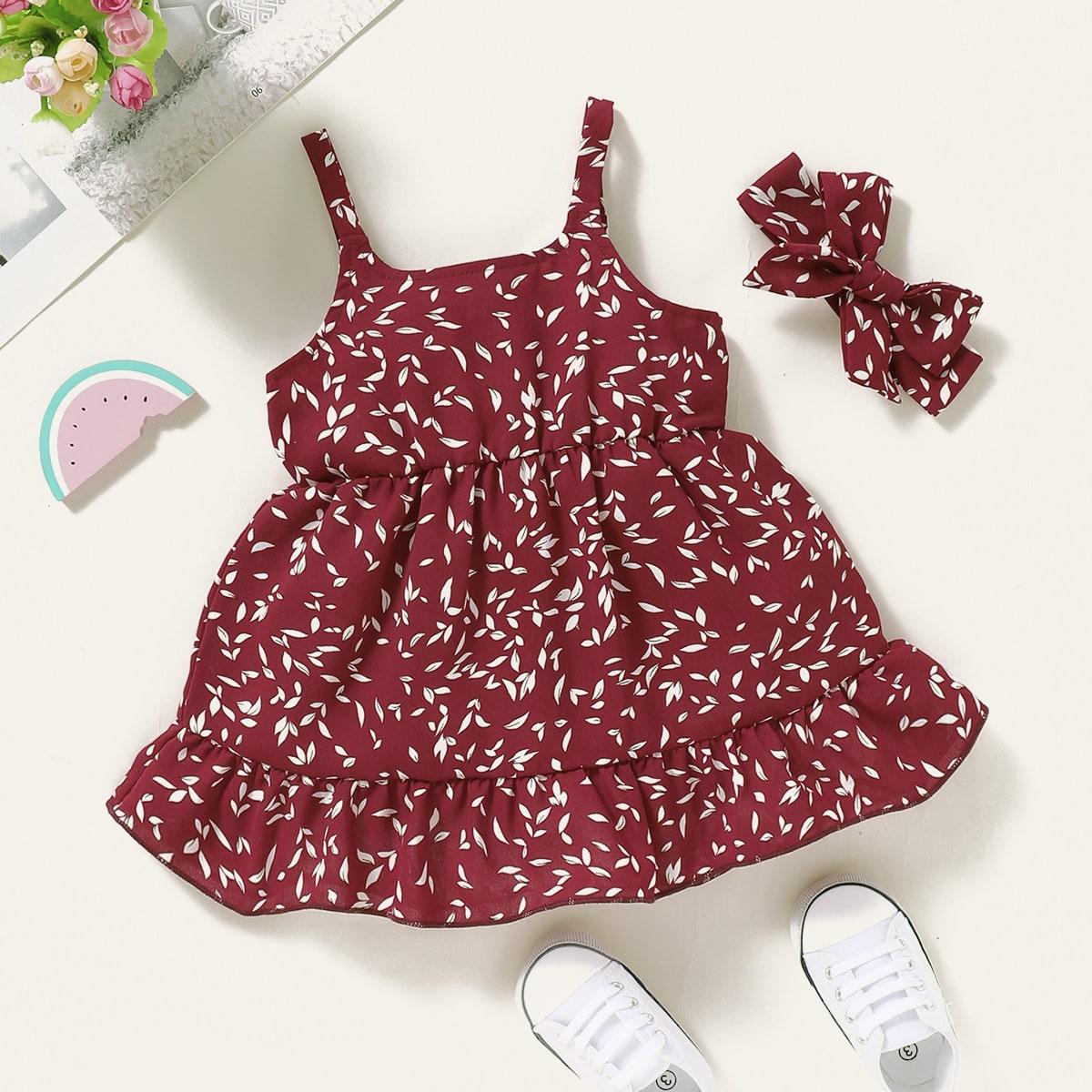 Многослойное платье на бретелях с цветочным принтом для девочек от SHEIN