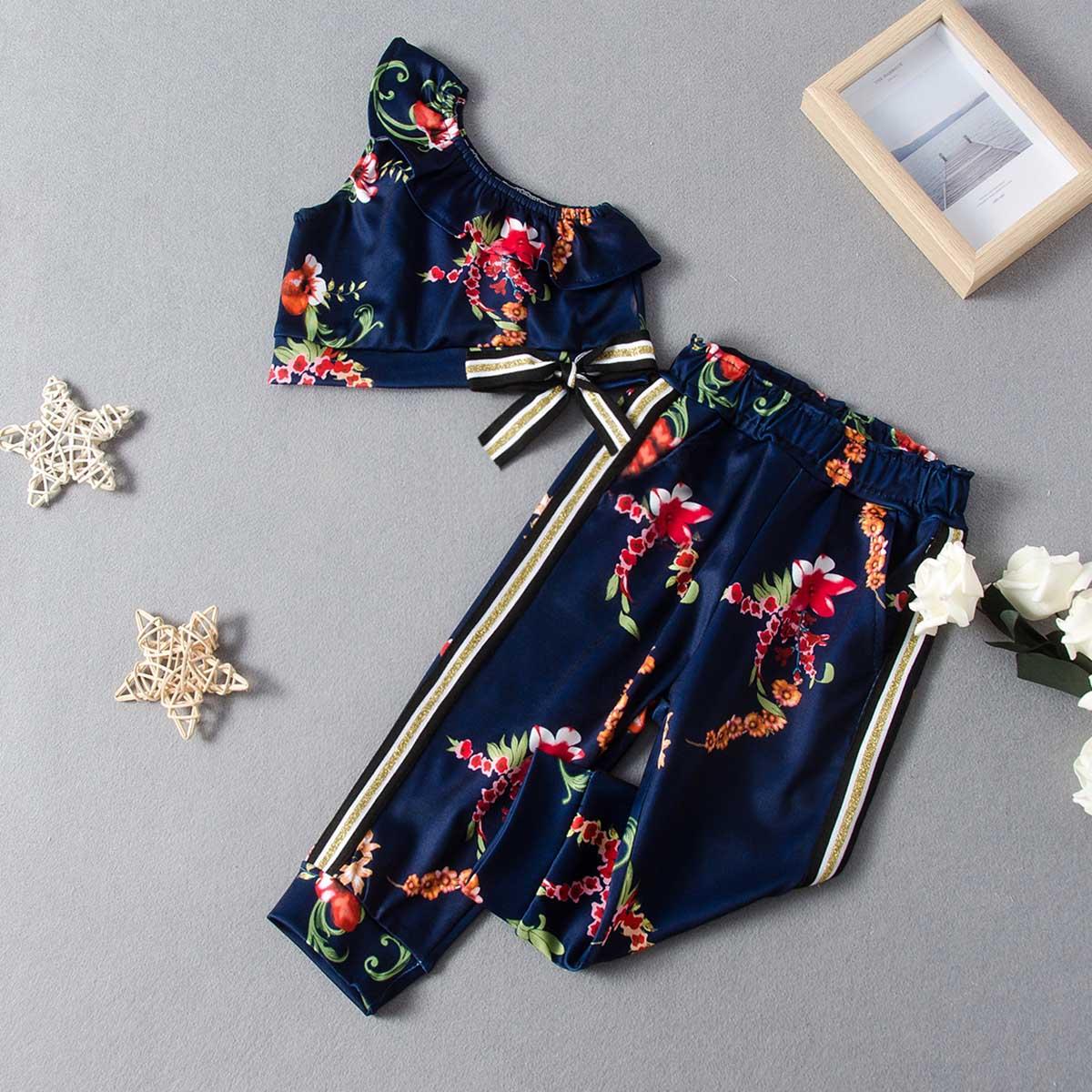 Цветочные брюки и топ с узлом на одно плечо для девочек фото