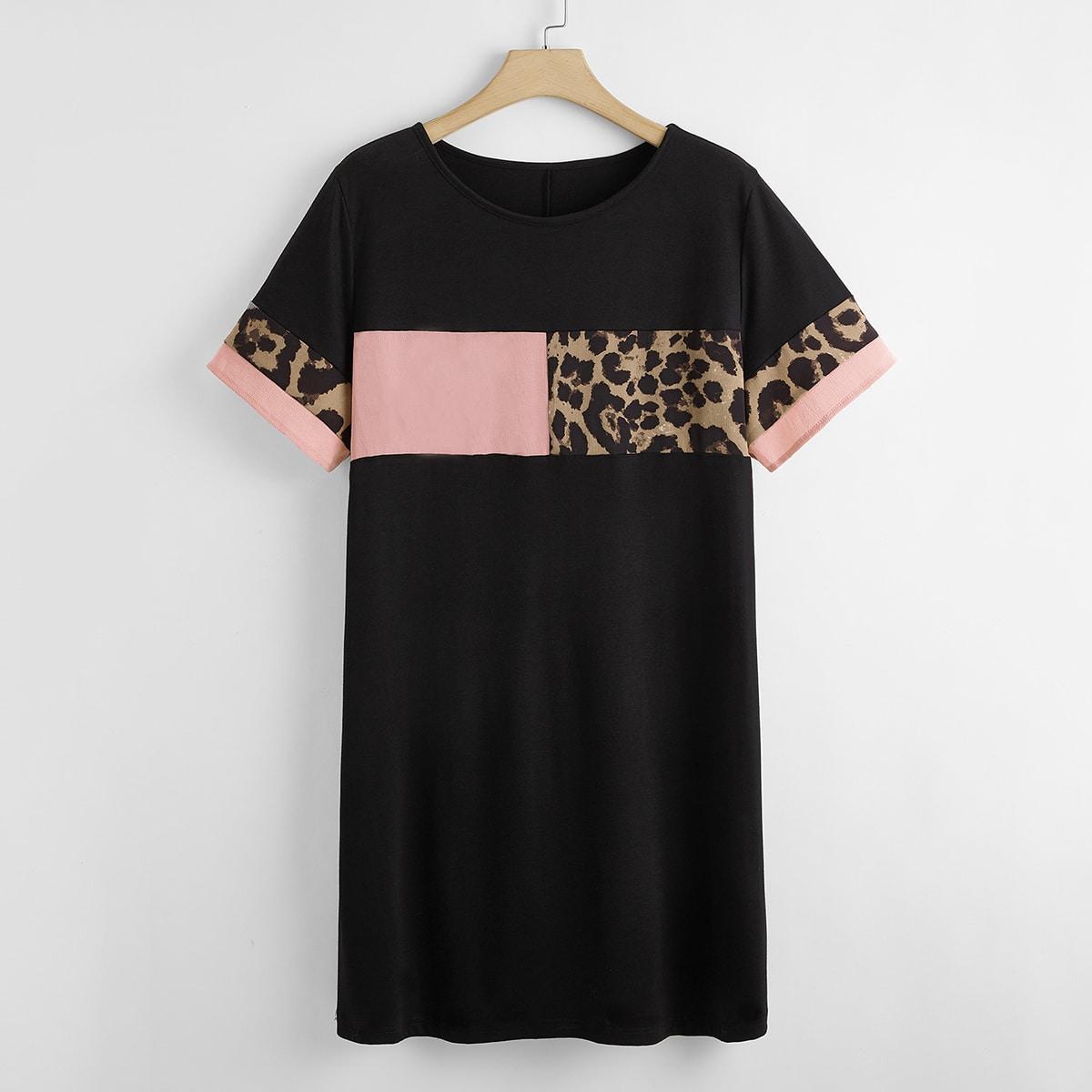 Платье-туника размера плюс с леопардовым узором