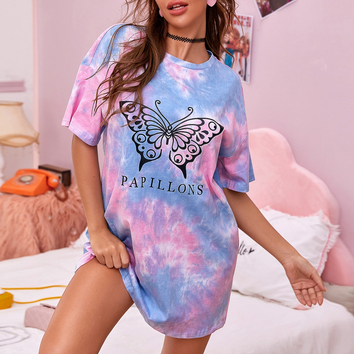 SHEIN / Butterfly and Letter Print Drop Shoulder Tee Dress
