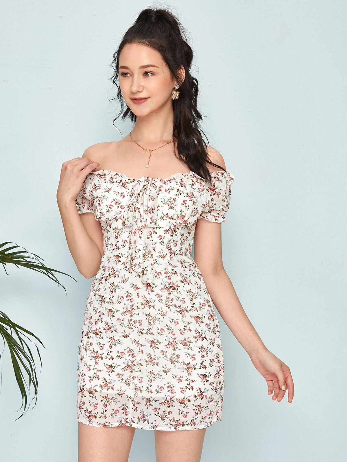 Ditsy Floral Frill Trim Dress