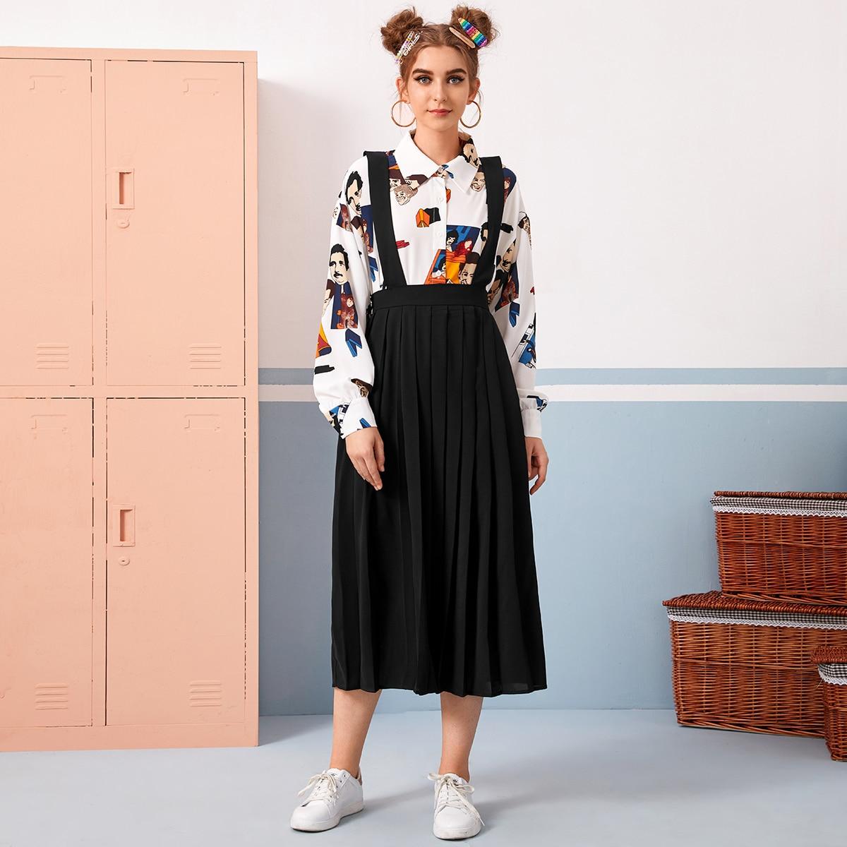 Однотонная плиссированная юбка с подтяжками от SHEIN
