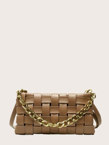 Braided Chain Decor Shoulder Bag