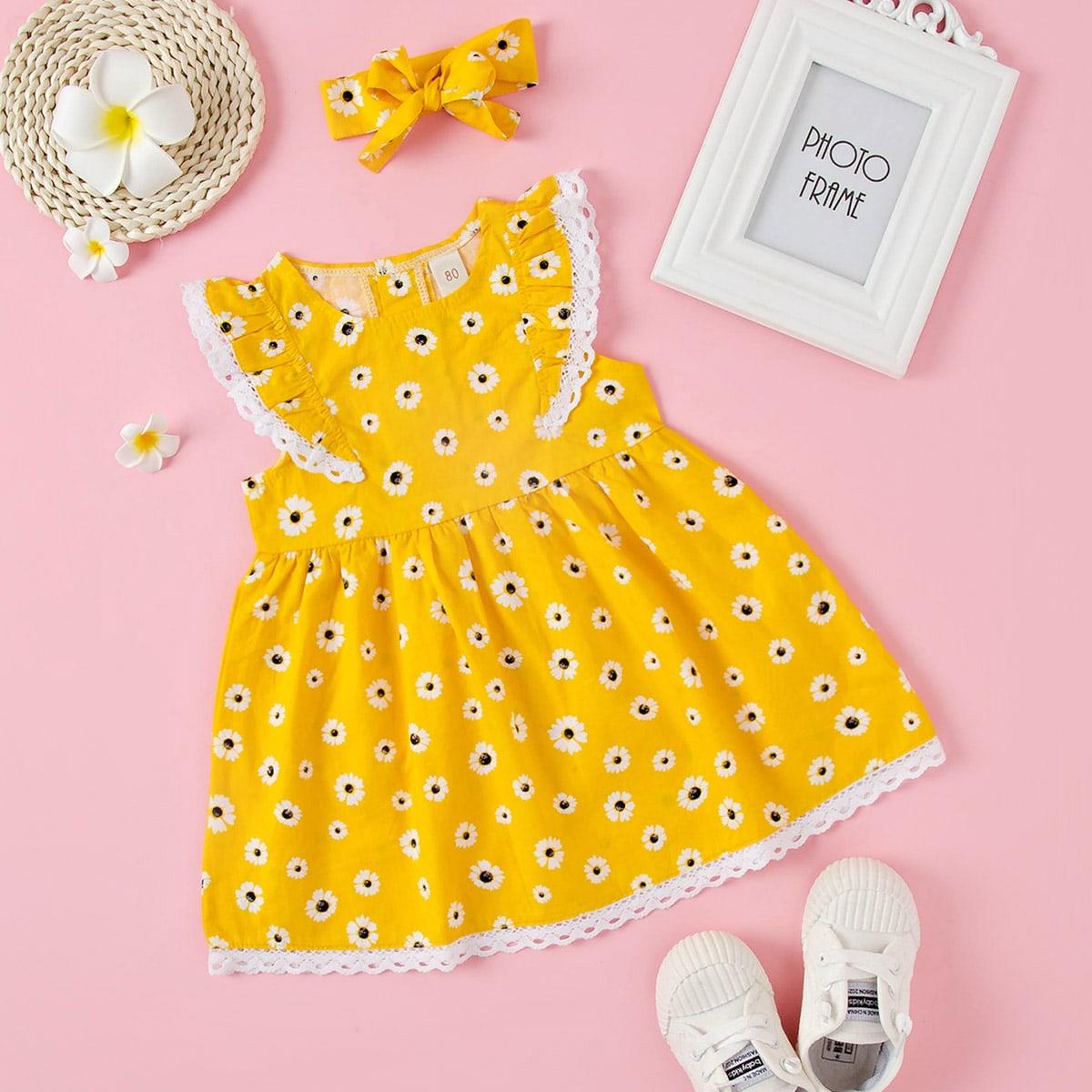 Платье с кружевной отделкой и цветочным принтом для девочек от SHEIN