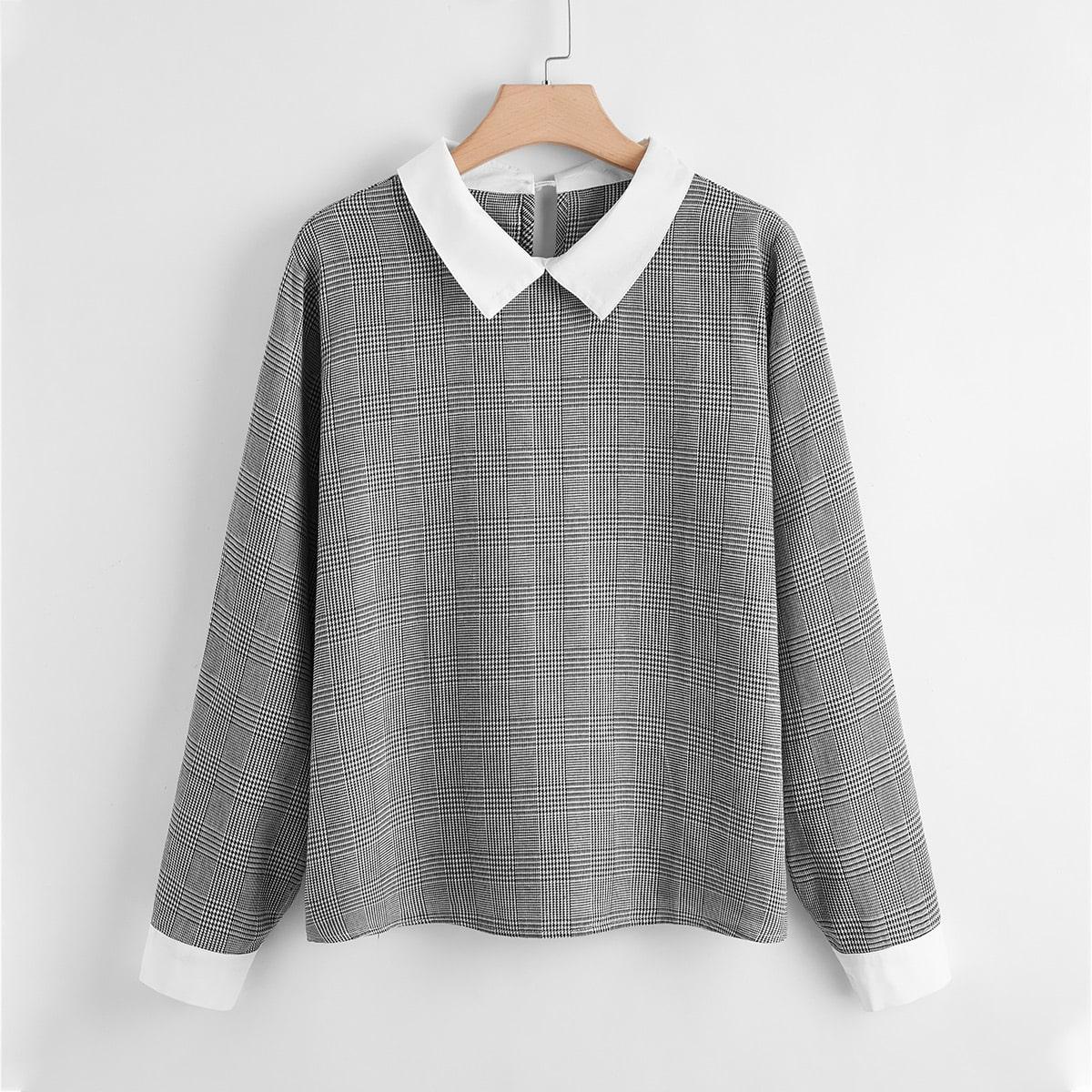 SHEIN / Blusas Extra Grandes Cuello en contraste A cuadros Gris Elegante