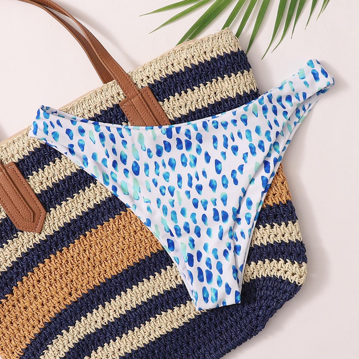 shein Blauw Schattig Stippen Bikini bottom