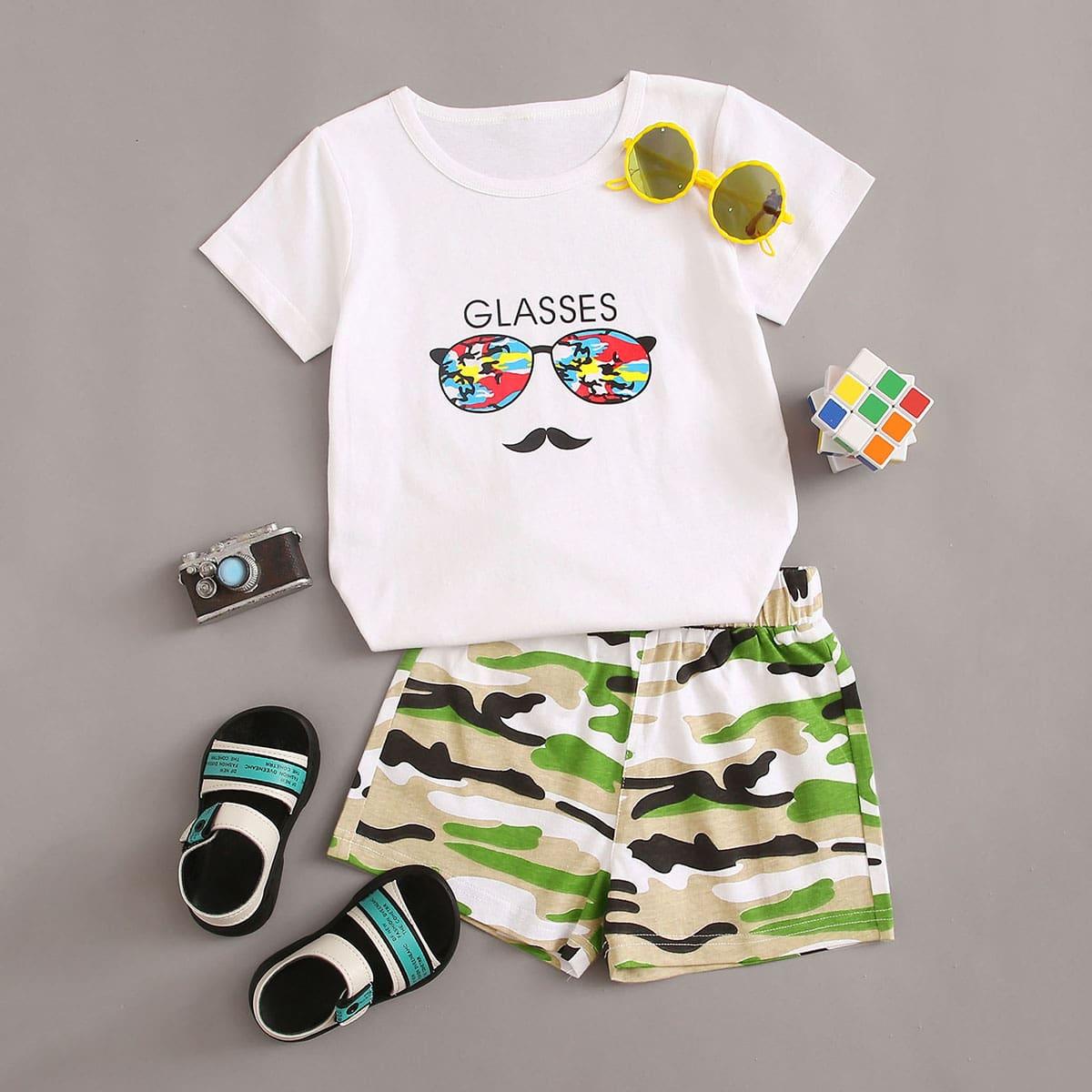 Камуфляжные шорты и футболка с оригинальным принтом для мальчиков фото