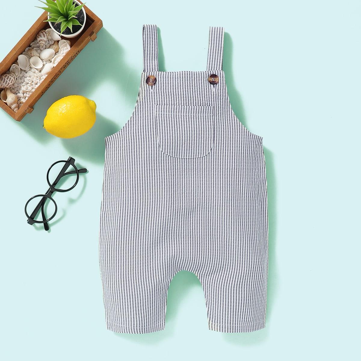 Многоцветный с карманами Полосатые изображения Деним для малышей от SHEIN