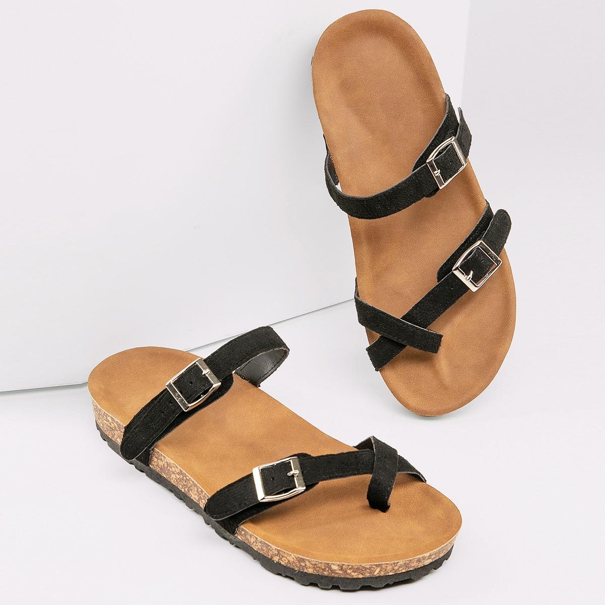 SHEIN / Toe Loop Twin Buckle Footbed Slide Sandals