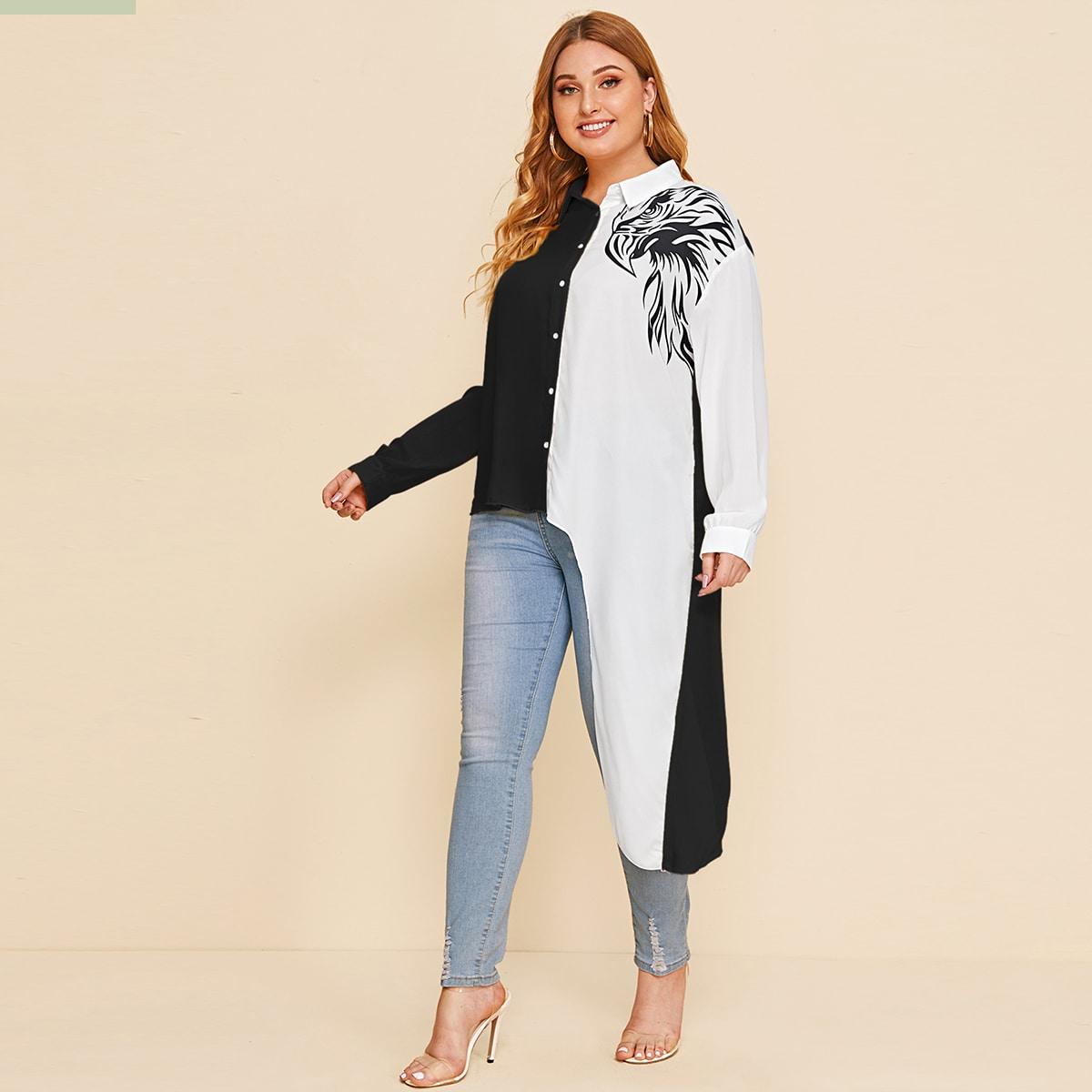 Контрастная асимметричная блуза размера плюс с принтом фото