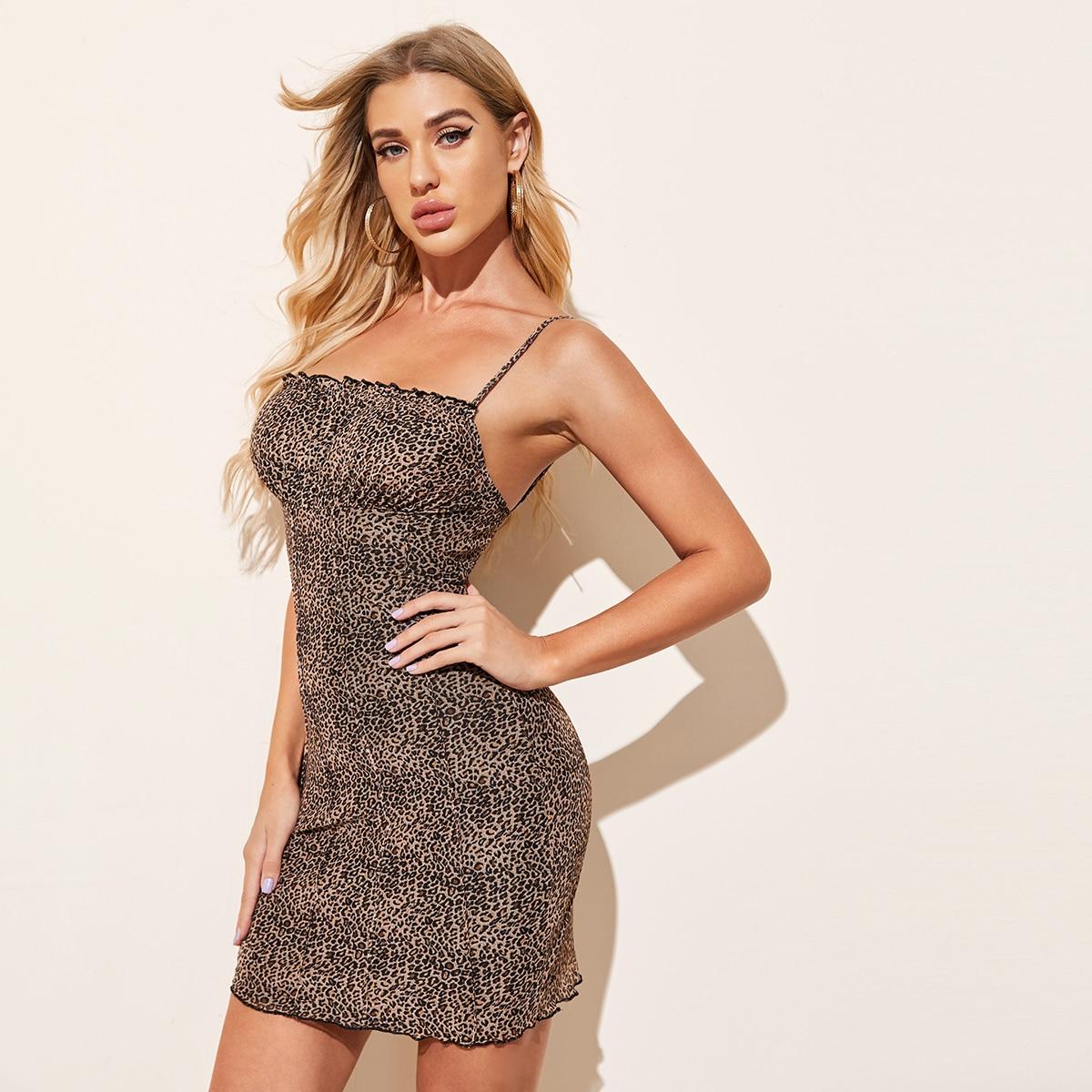 SHEIN / Frill Trim Seam Front Leopard Mesh Dress