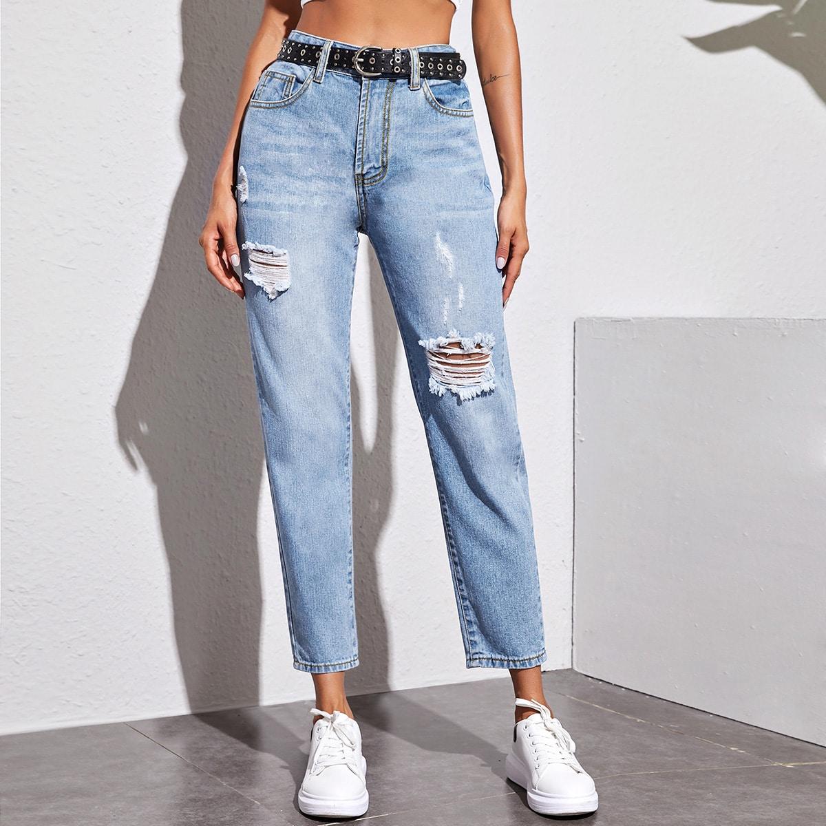 Рваные джинсы без пояса