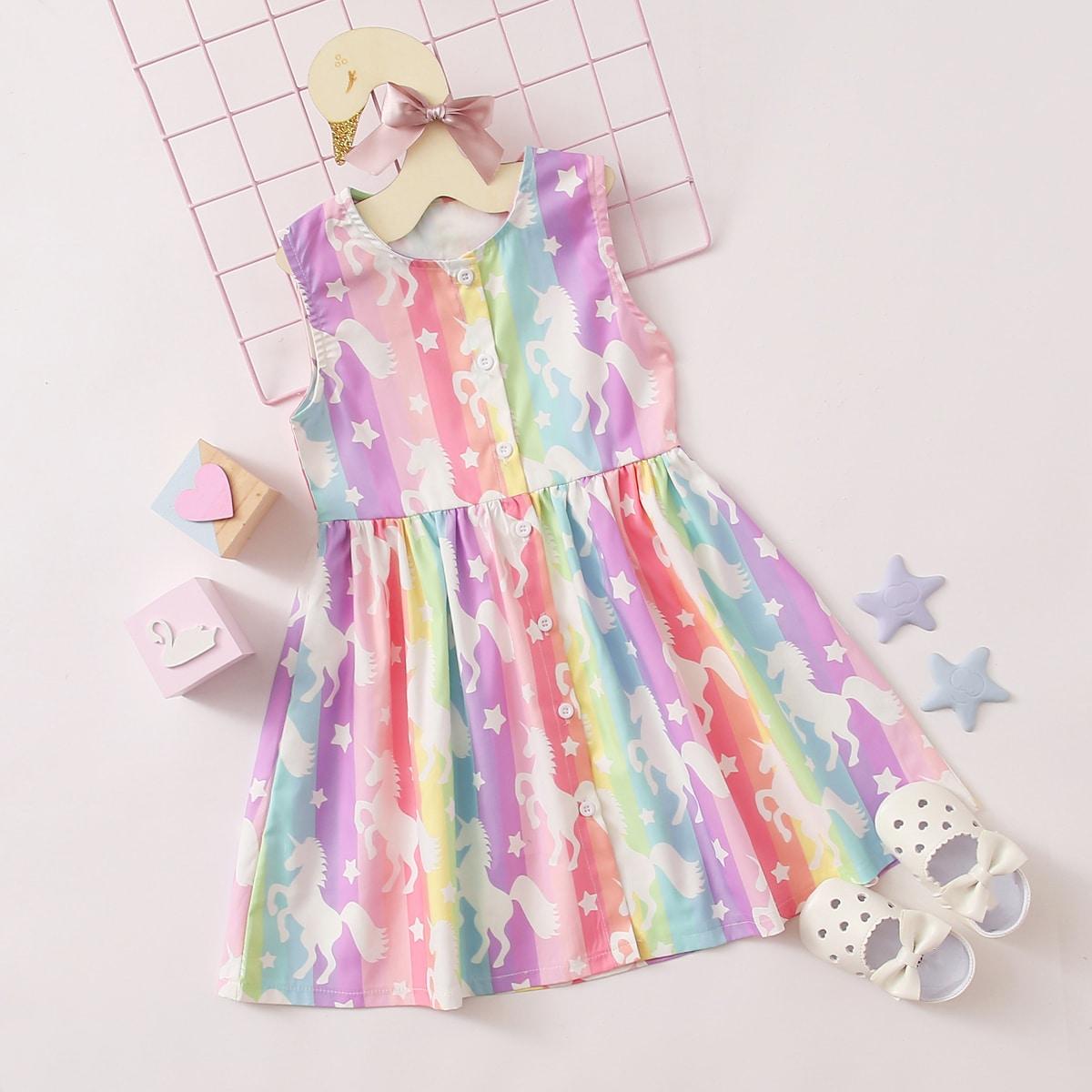 Радужное полосатое платье с принтом единорога для девочек от SHEIN