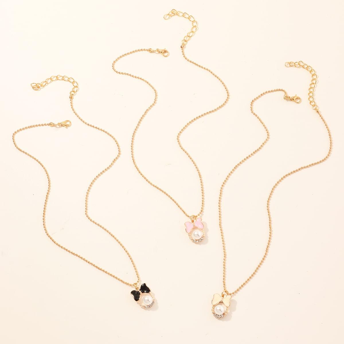 SHEIN / 3 Stücke Mädchen Halskette mit Schmetterling Anhänger