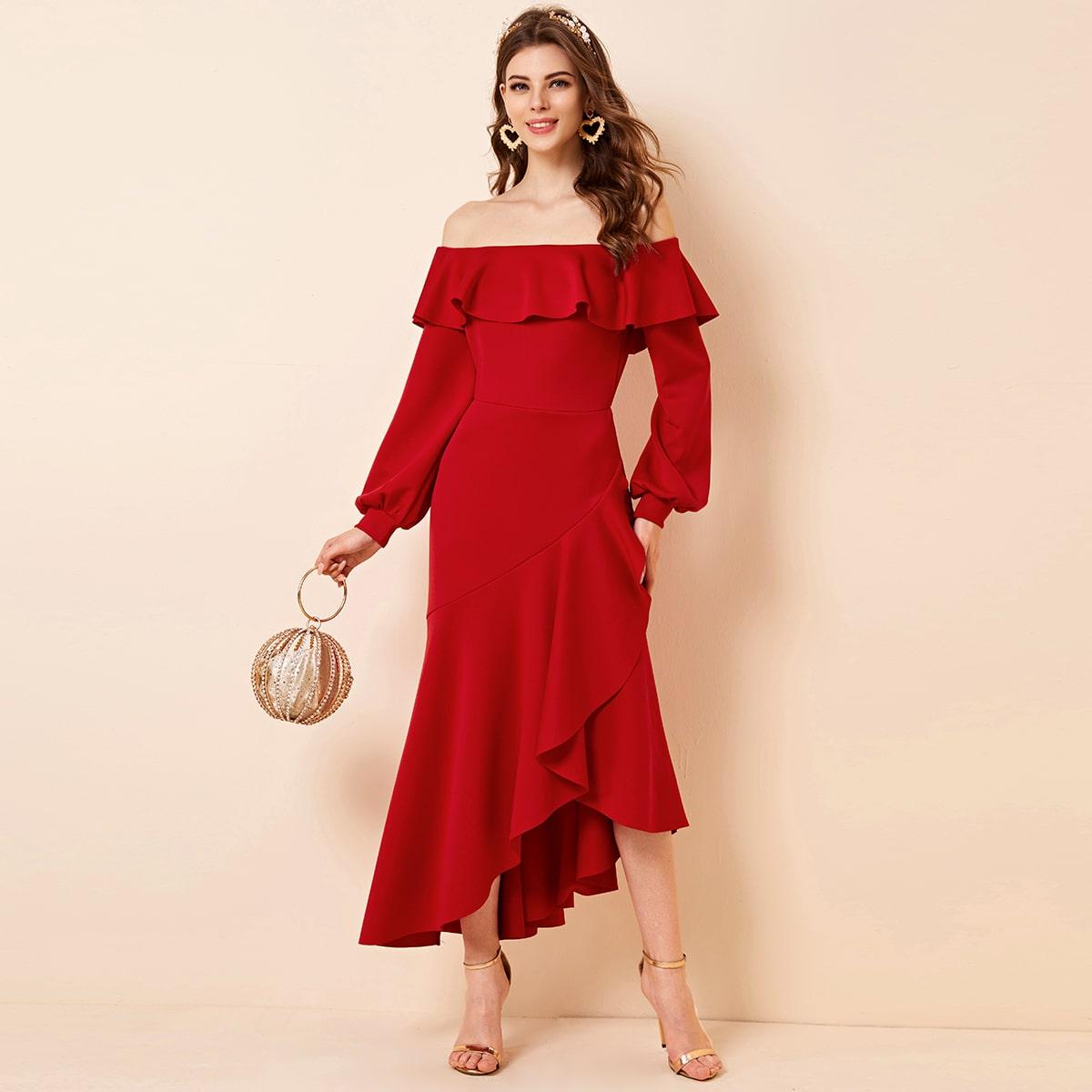 Купить Асимметричное платье с открытыми плечами и оборками от SHEIN красного цвета в Городке за 45.30 руб. Посмотреть отзывы и фото - «ModaMay»