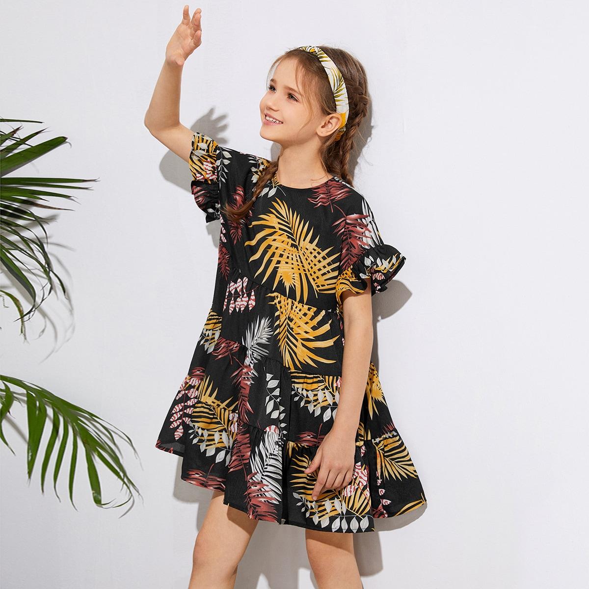 Платье с оригинальным рукавом и тропическим принтом для девочек фото