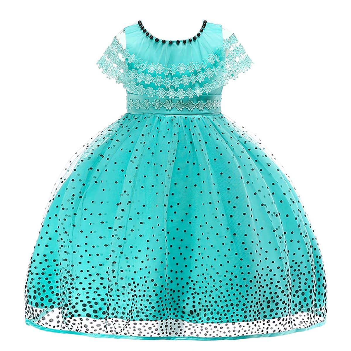SHEIN / Vestido de fiesta de niñas con cuenta con malla aplique floral de lunares