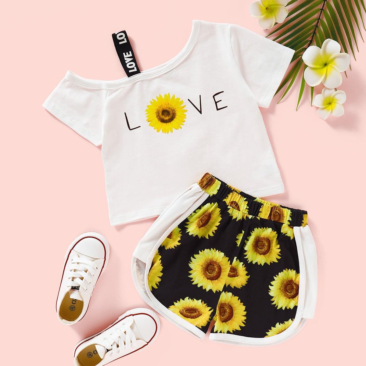 Шорты и футболка с асимметричным вырезом, принтом подсолнуха для девочек фото