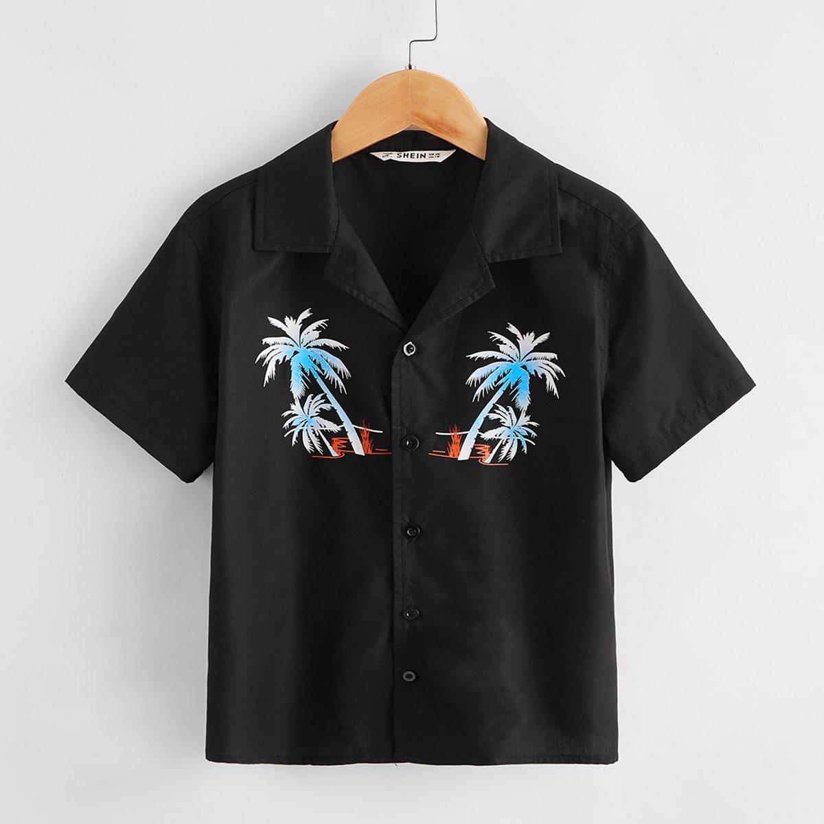 Рубашка для мальчиков с тропическим принтом от SHEIN