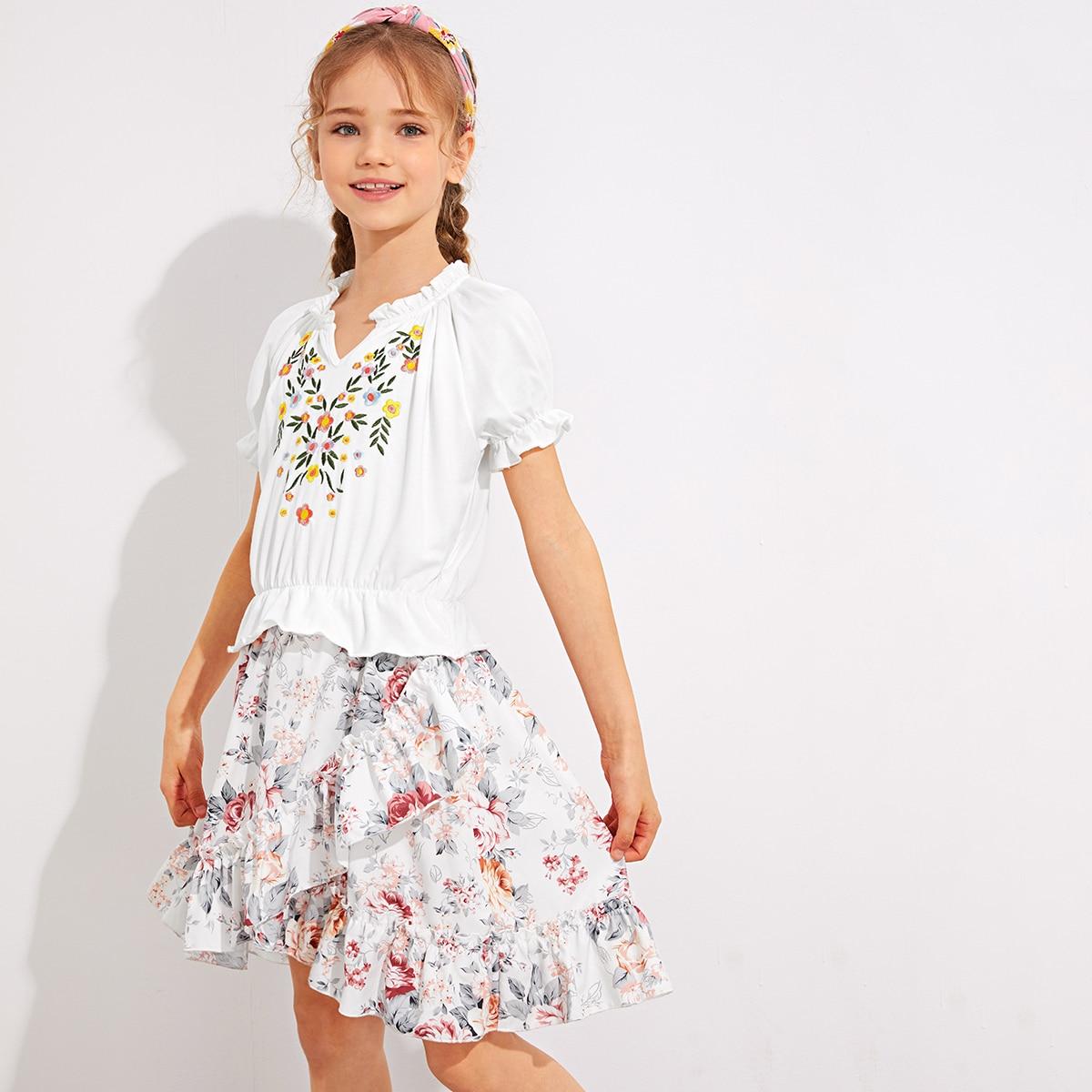 Юбка и топ с цветочной вышивкой, пышным рукавом для девочек фото