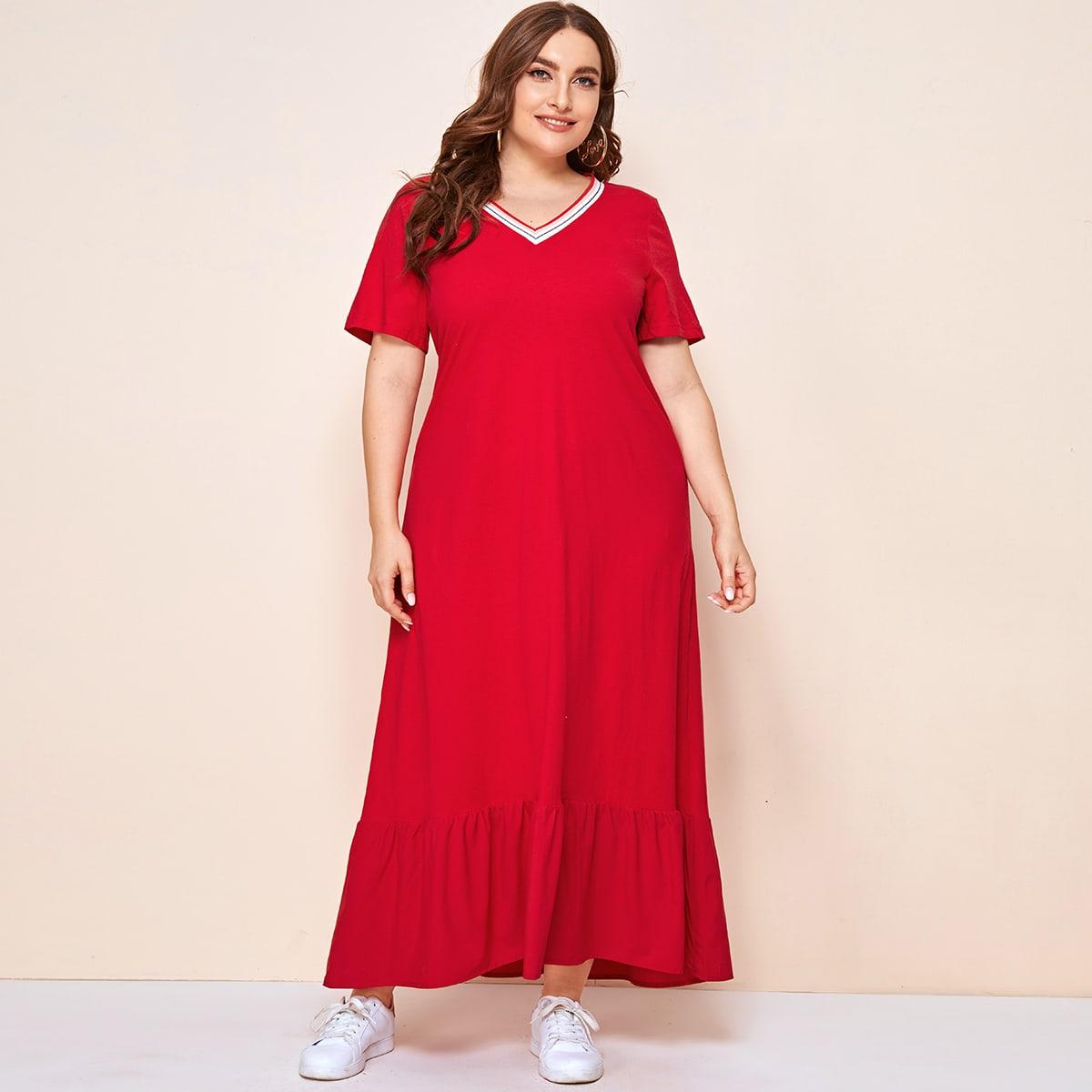 SHEIN / Rot Rüschensaum Gestreift Lässig Kleider Große Größen
