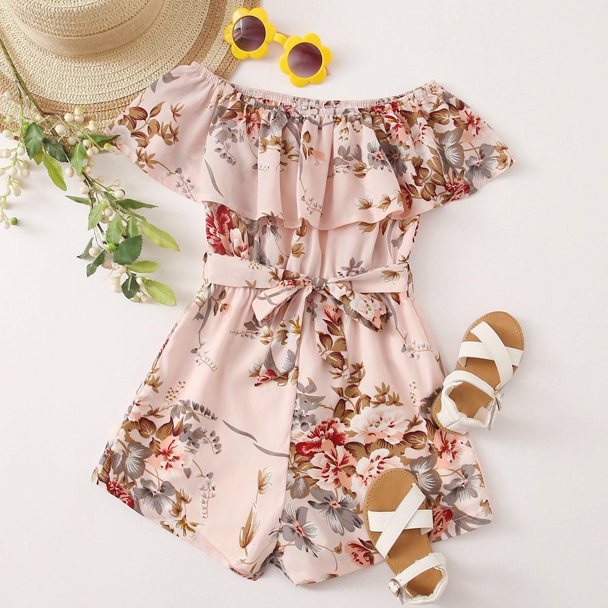 Комбинезон с поясом, цветочным принтом и открытыми плечами для девочек от SHEIN