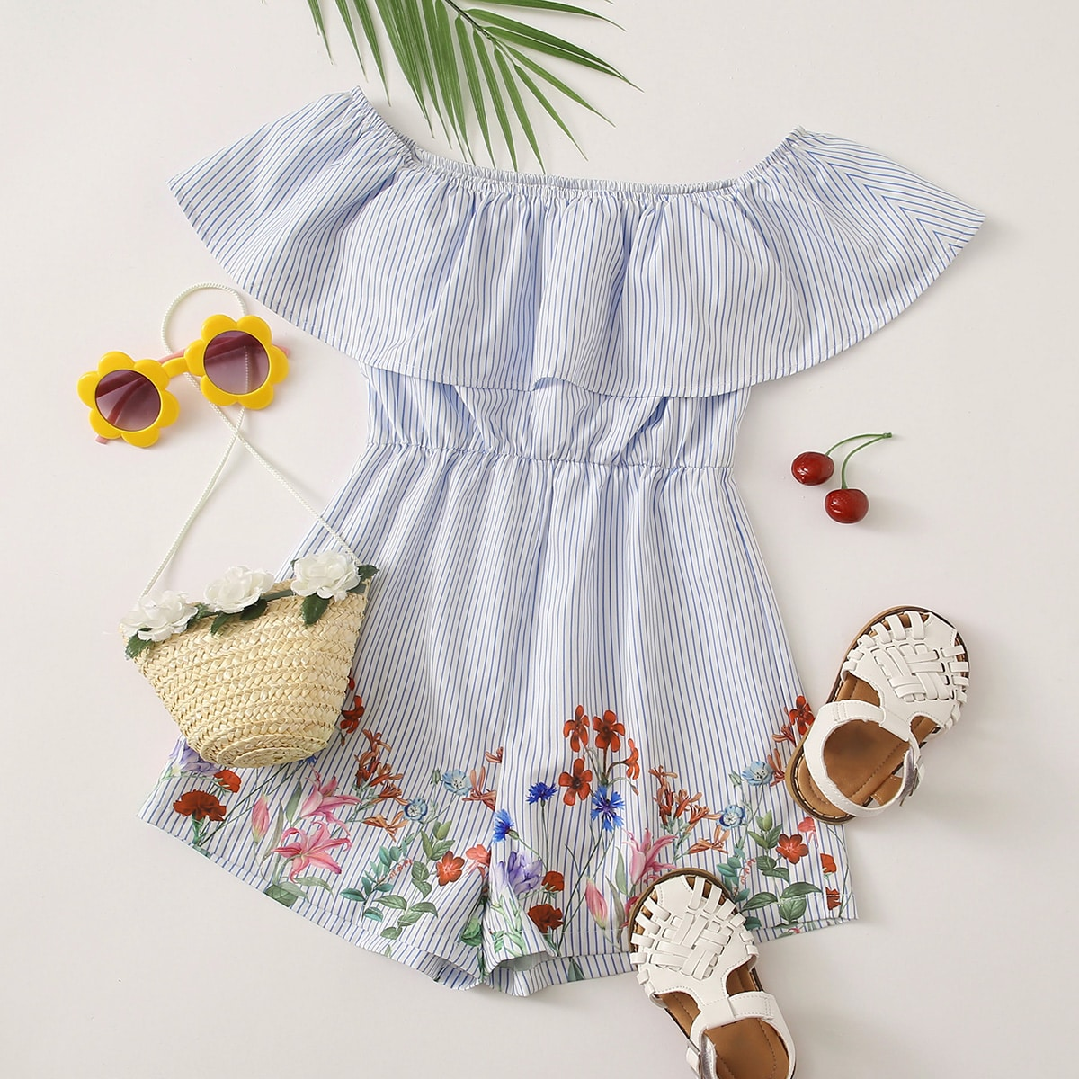 SHEIN / Girls Flounce Off Shoulder Floral Print Striped Romper