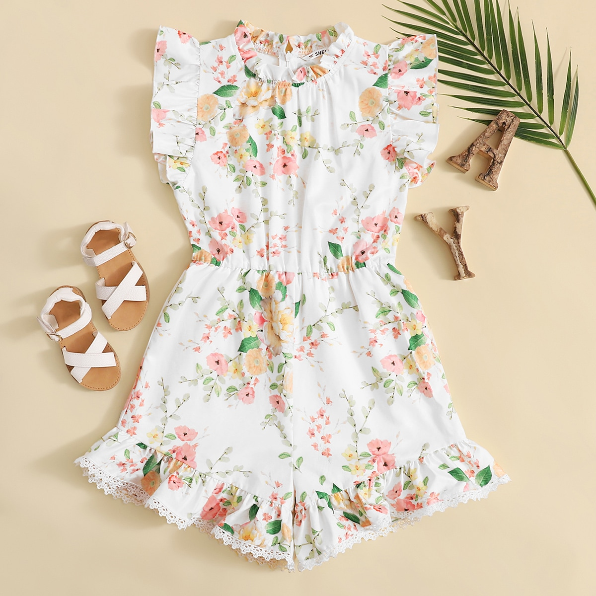 SHEIN / Girls Frilled Neck Ruffle Armhole Lace Hem Floral Romper